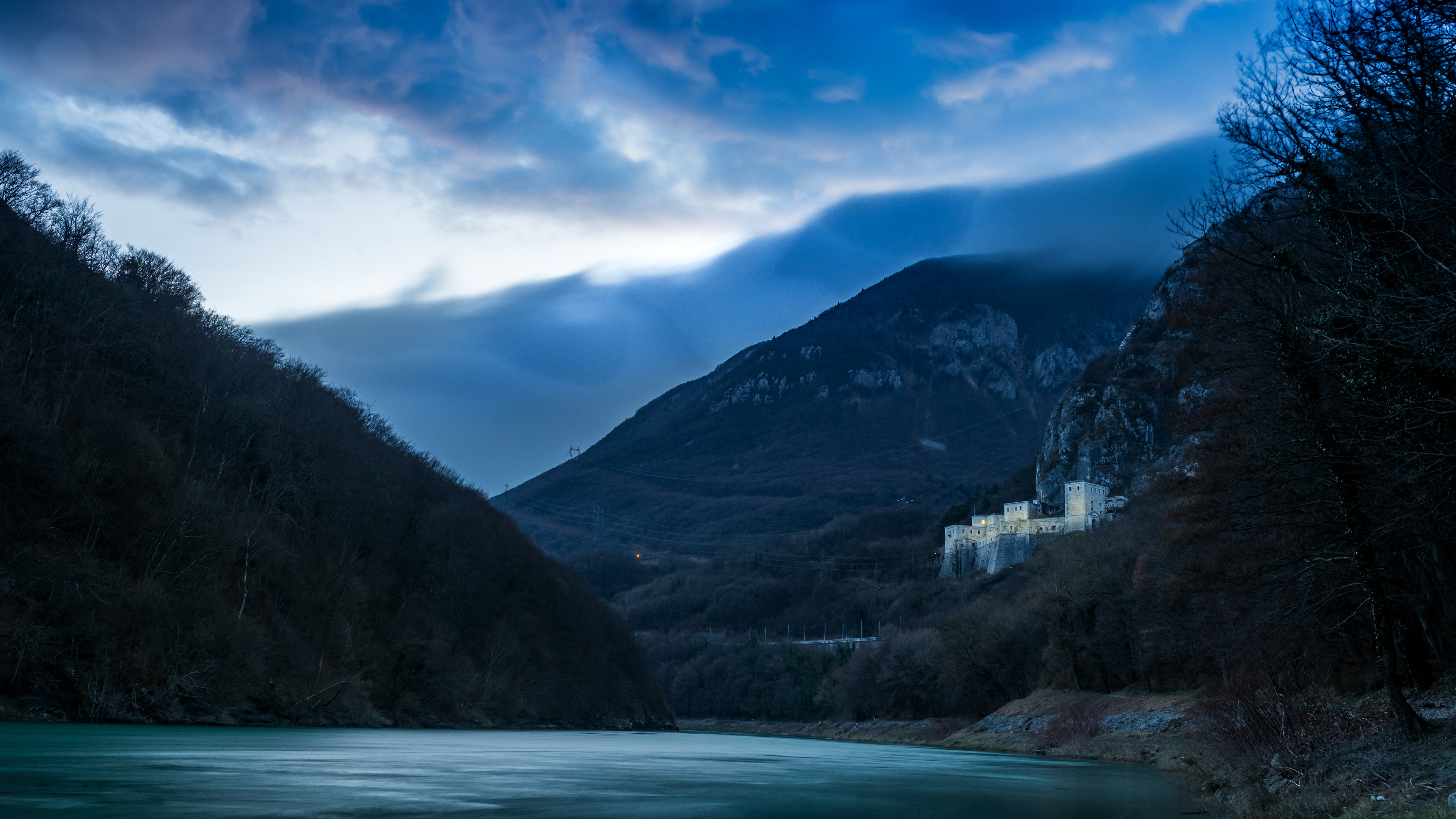 Wallpaper Mountains river blue Castle