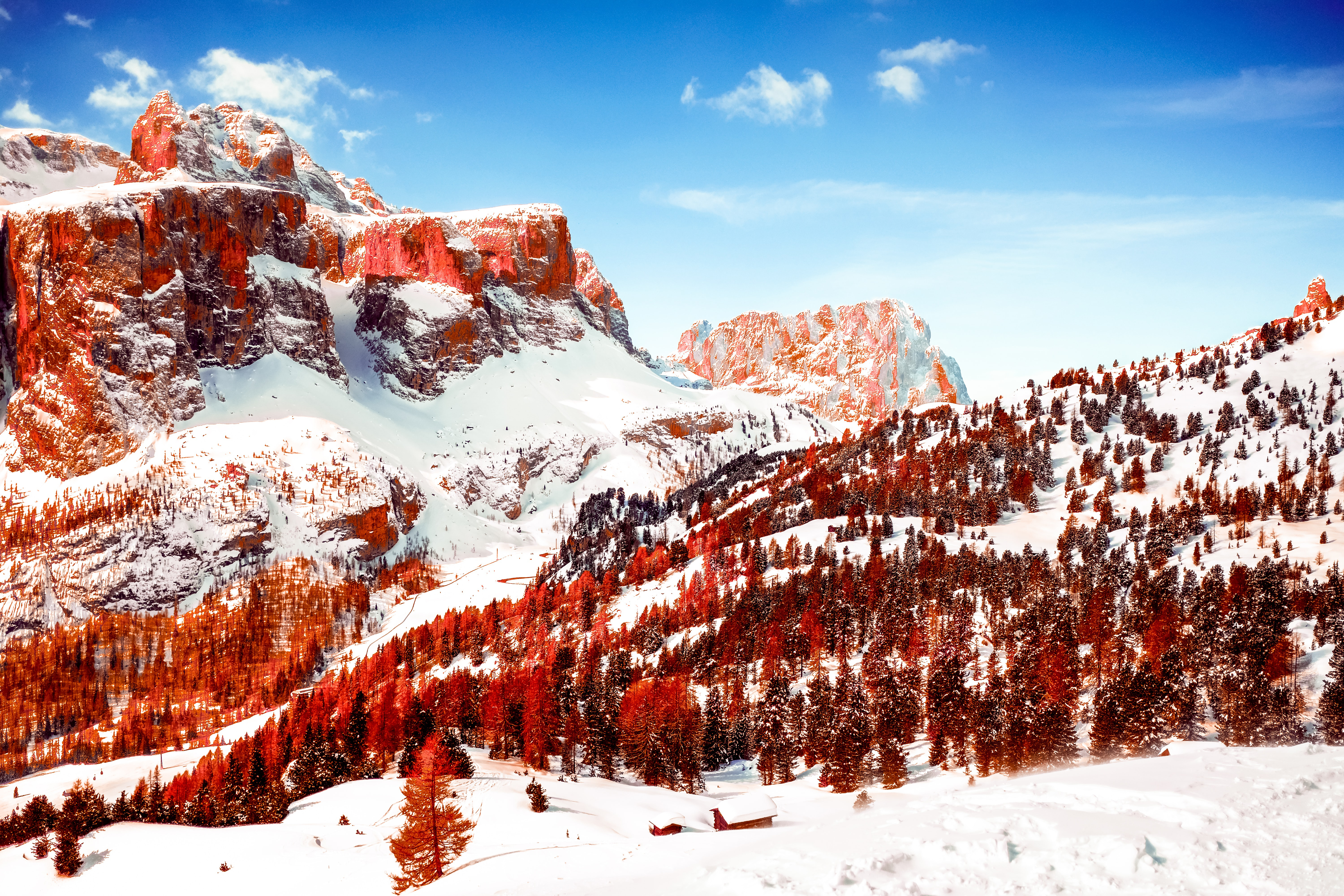 Wallpaper Red mountains with snow