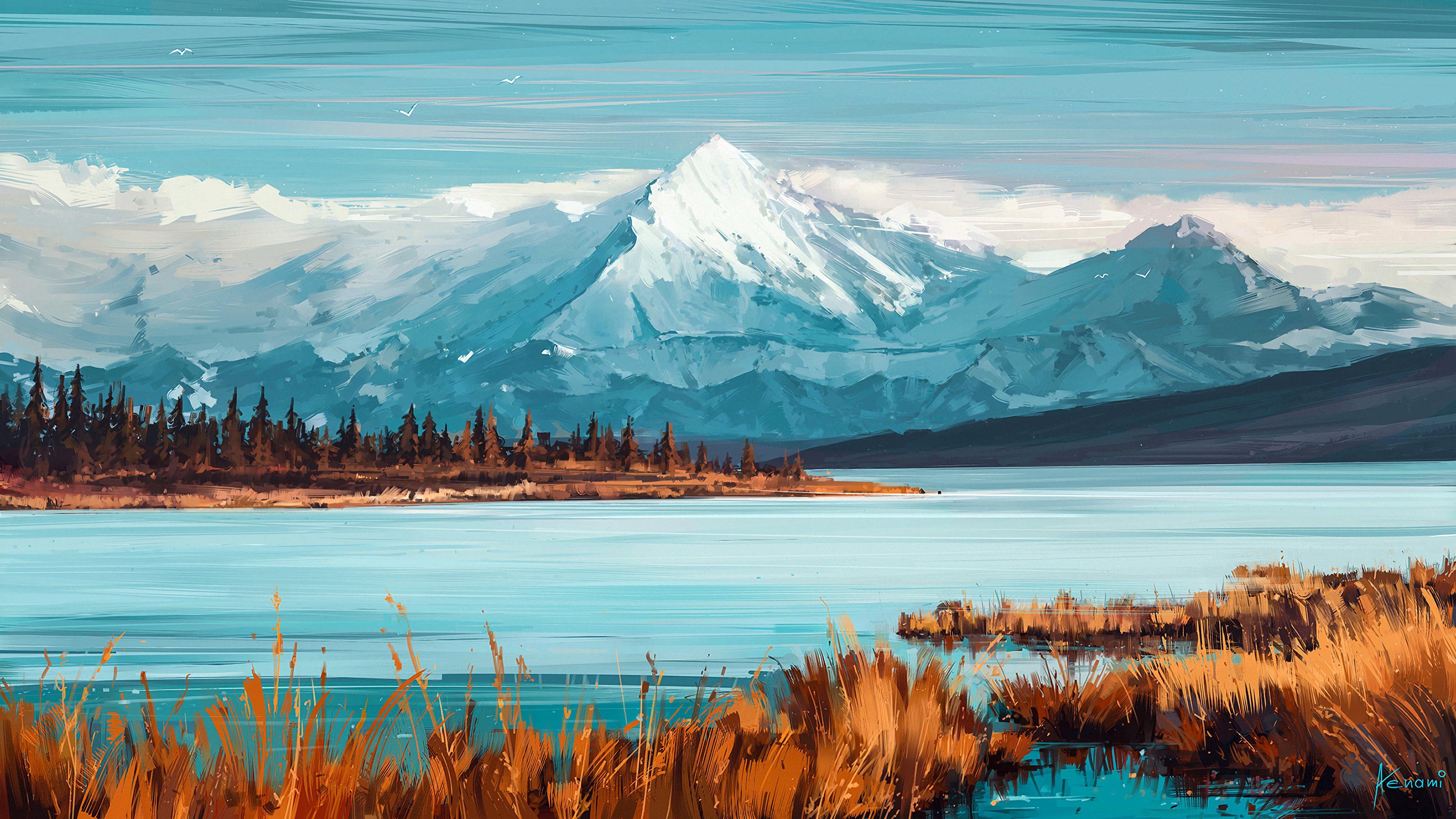 Fondos de pantalla Montañas y lago como arte digital