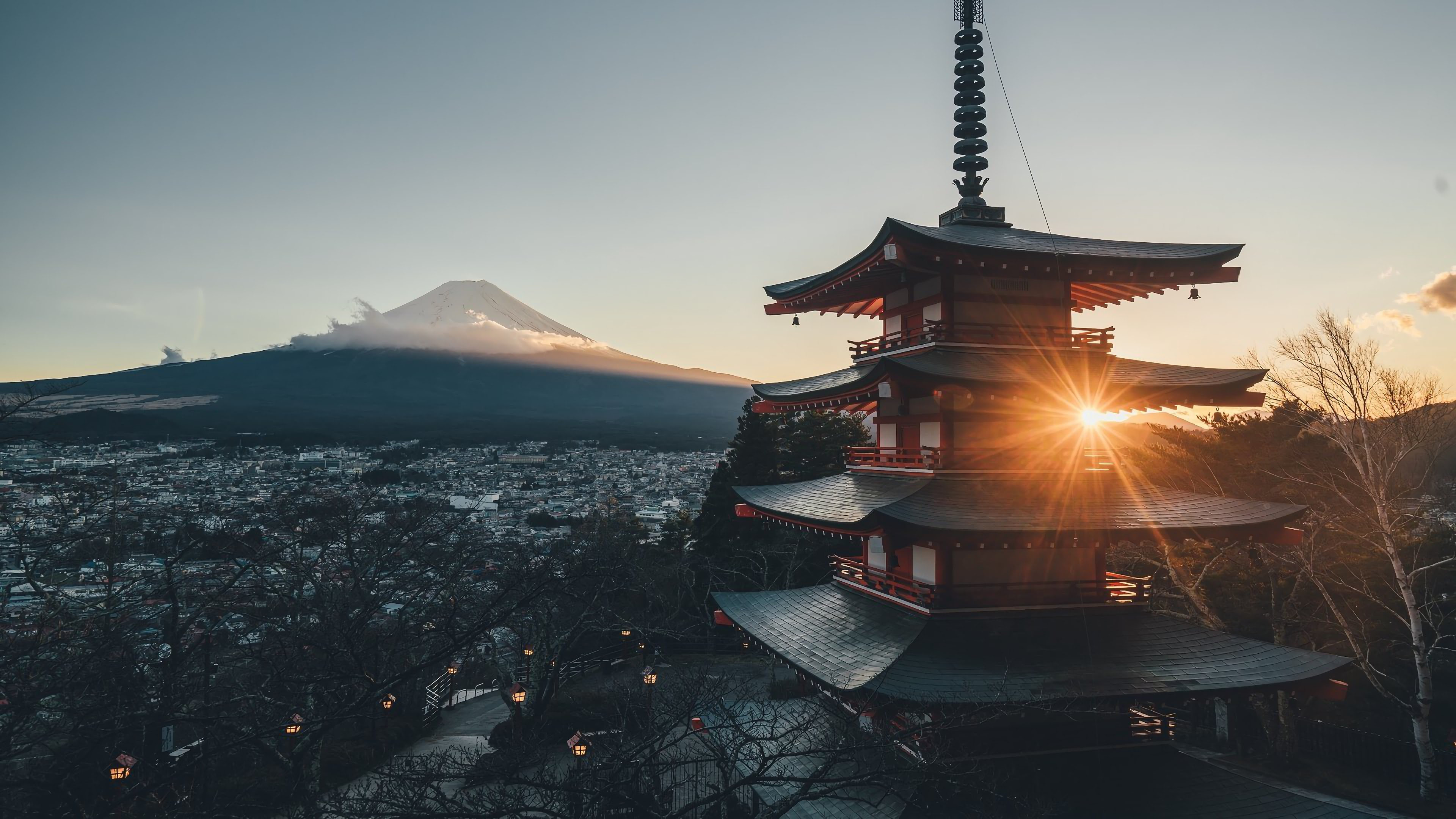 Wallpaper Mount Fuji and Japan City