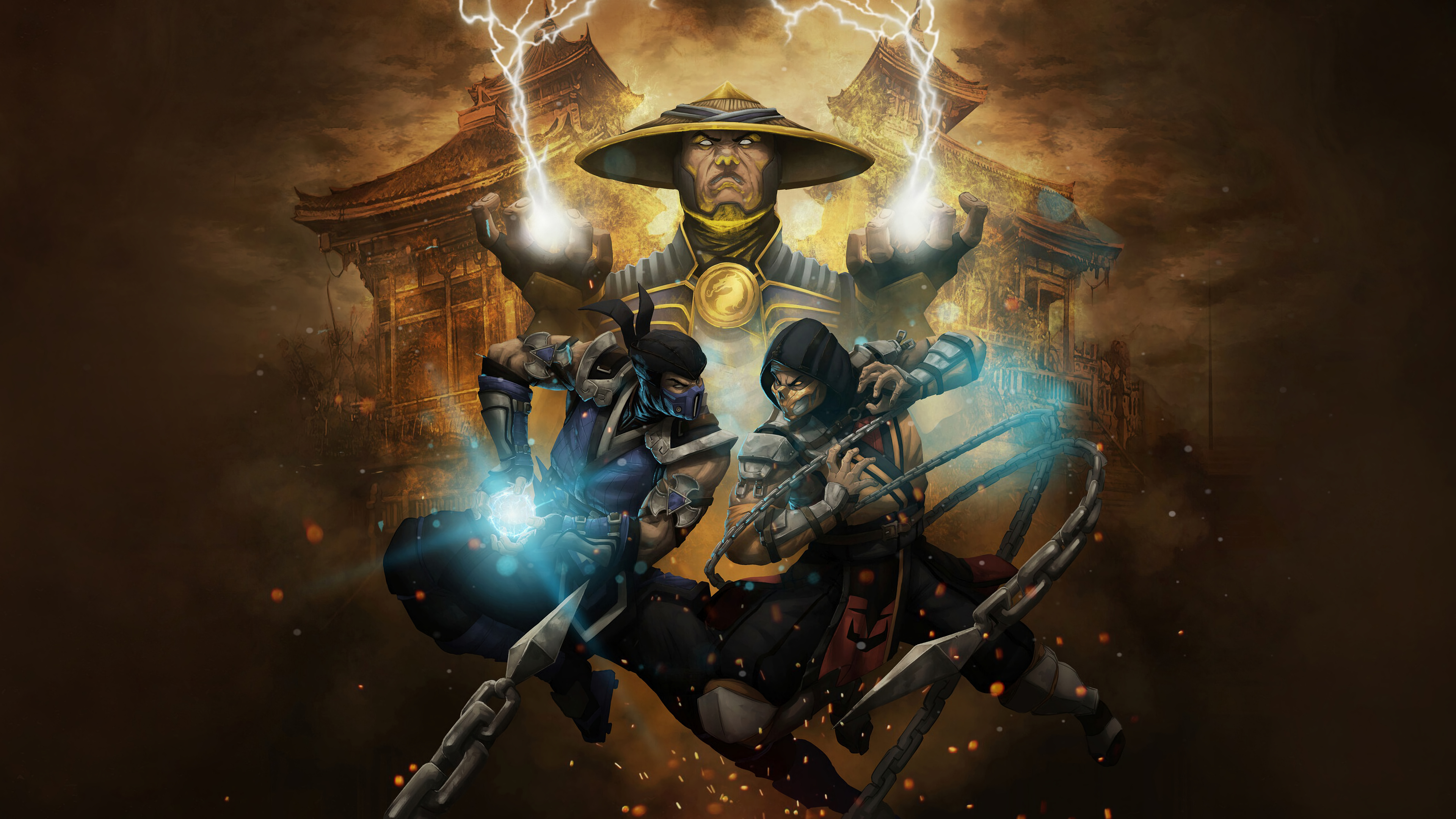 Mortal Kombat Raiden Subzero Y Scorpion Wallpaper 4k Ultra