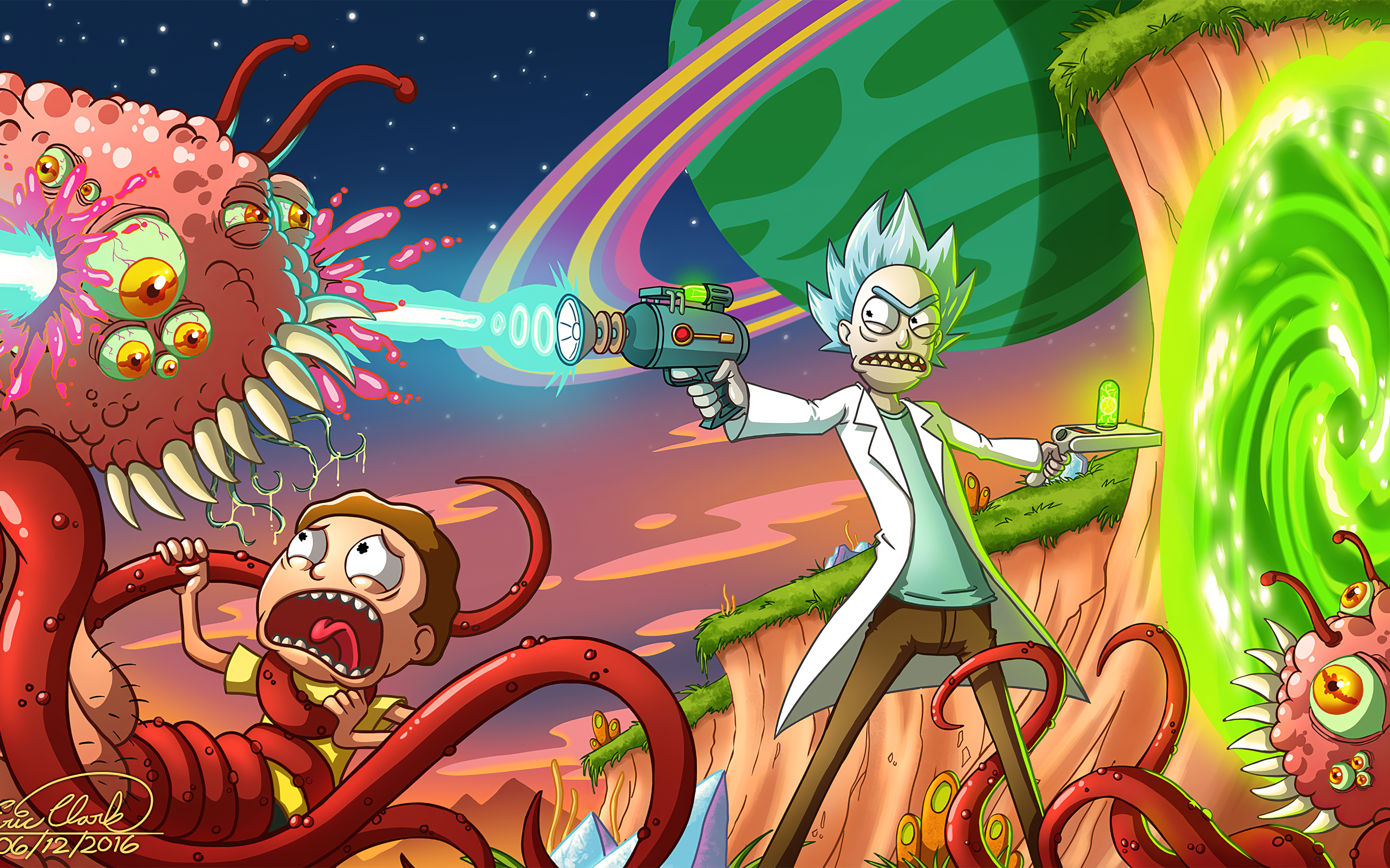 Wallpaper Morty being attacked