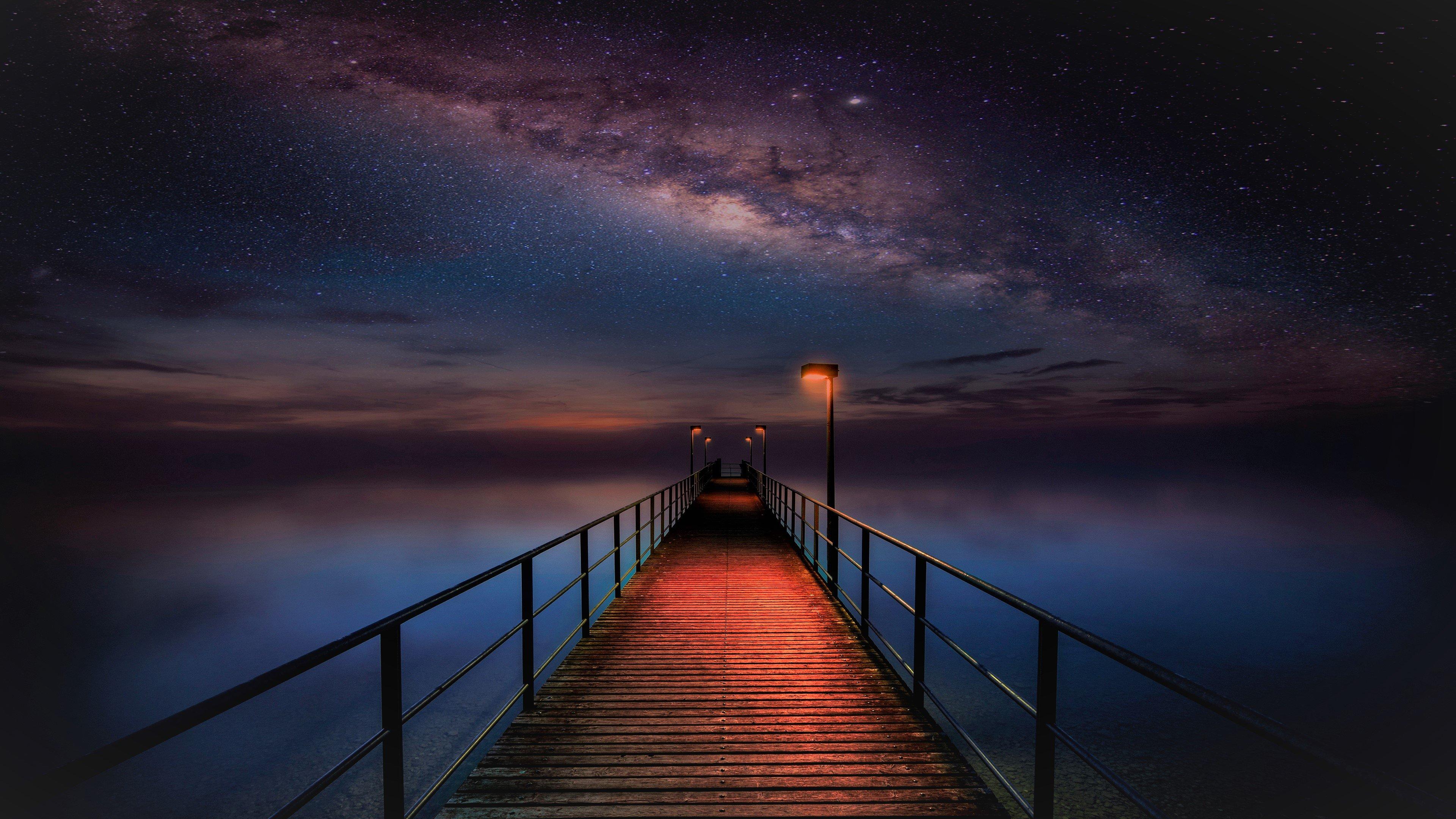 Fondos de pantalla Muelle en noche estrellada