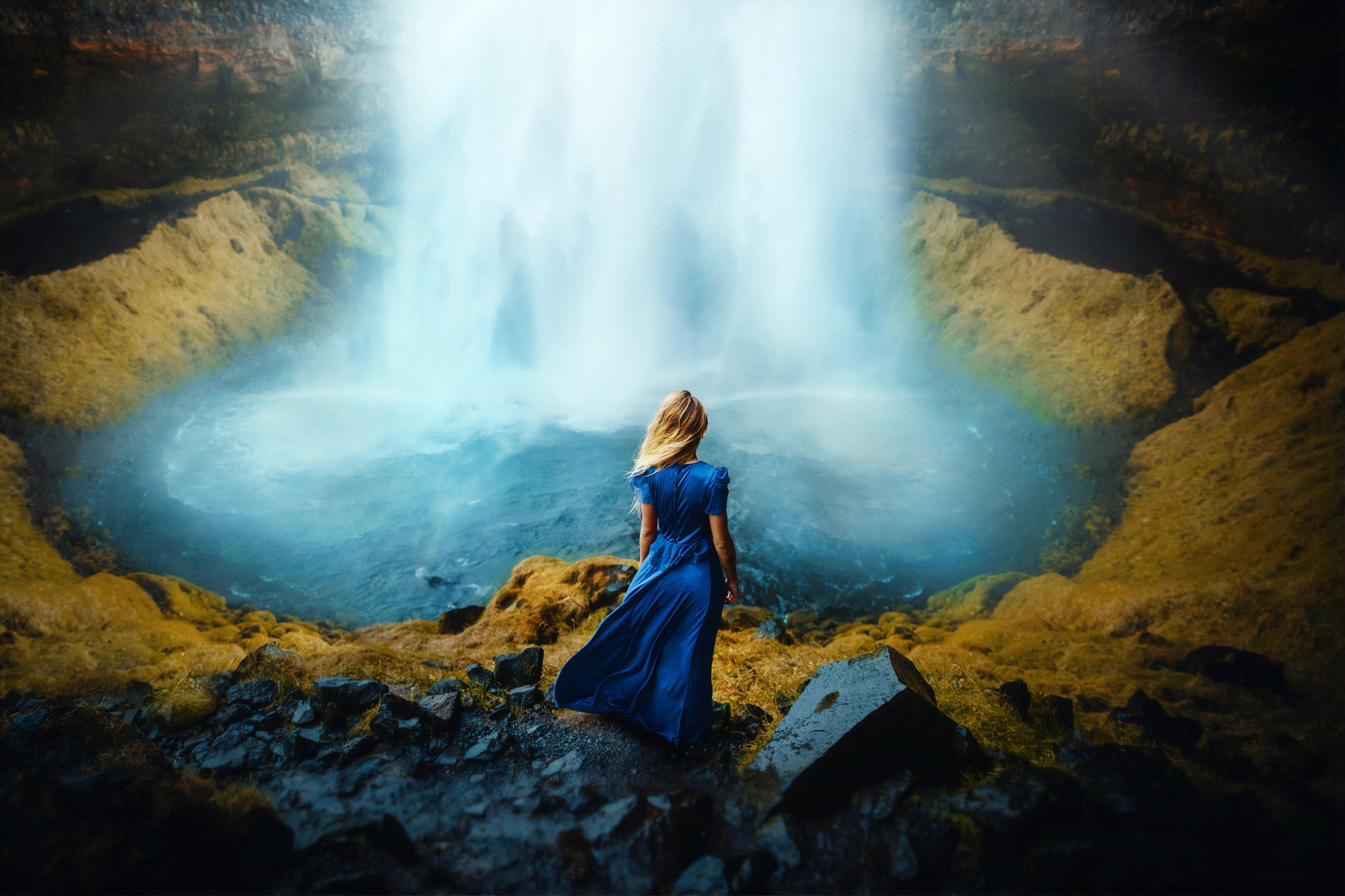 Wallpaper Woman in a dress in front of waterfall
