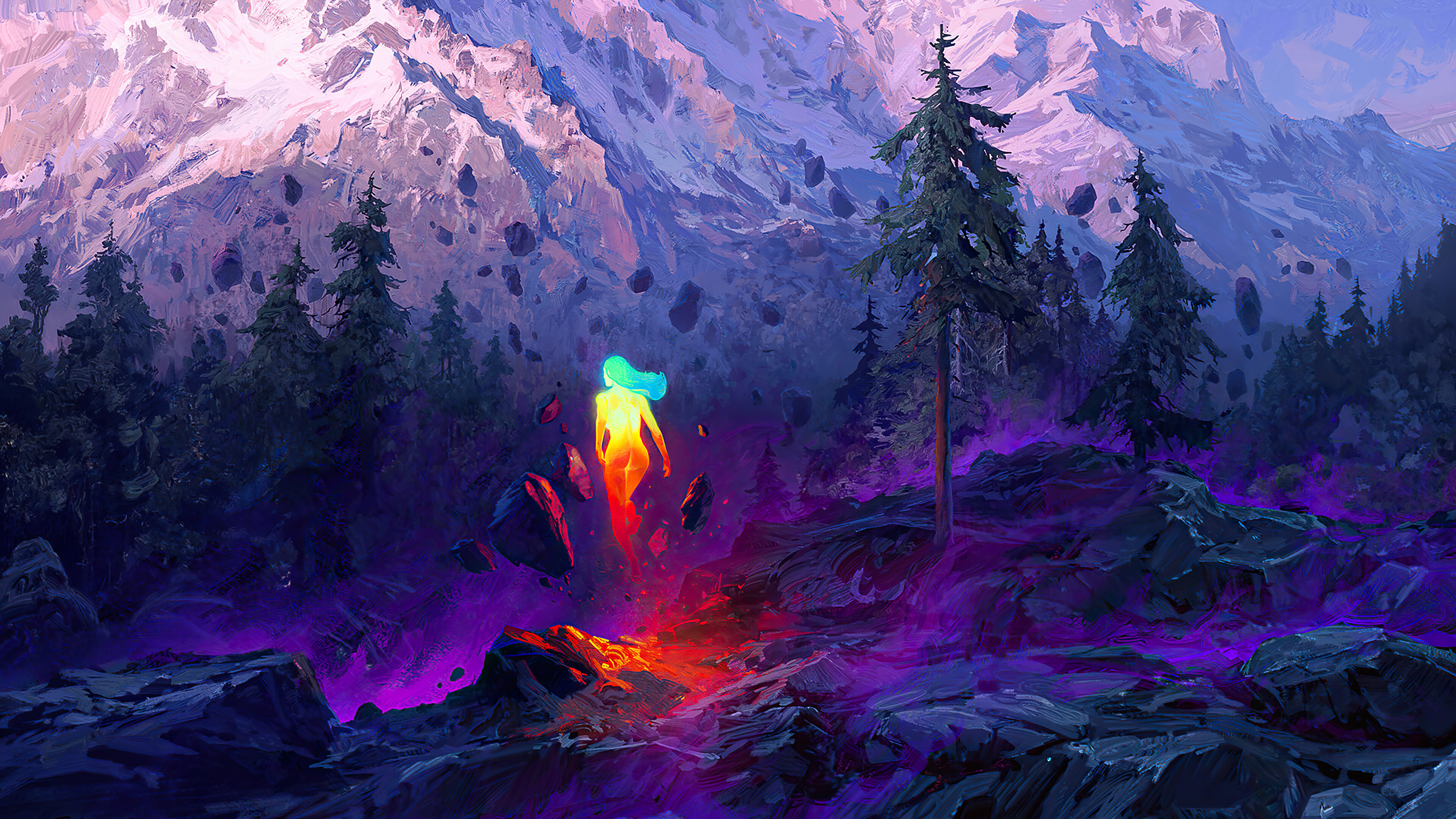 Wallpaper Lighted woman in mountain landscape