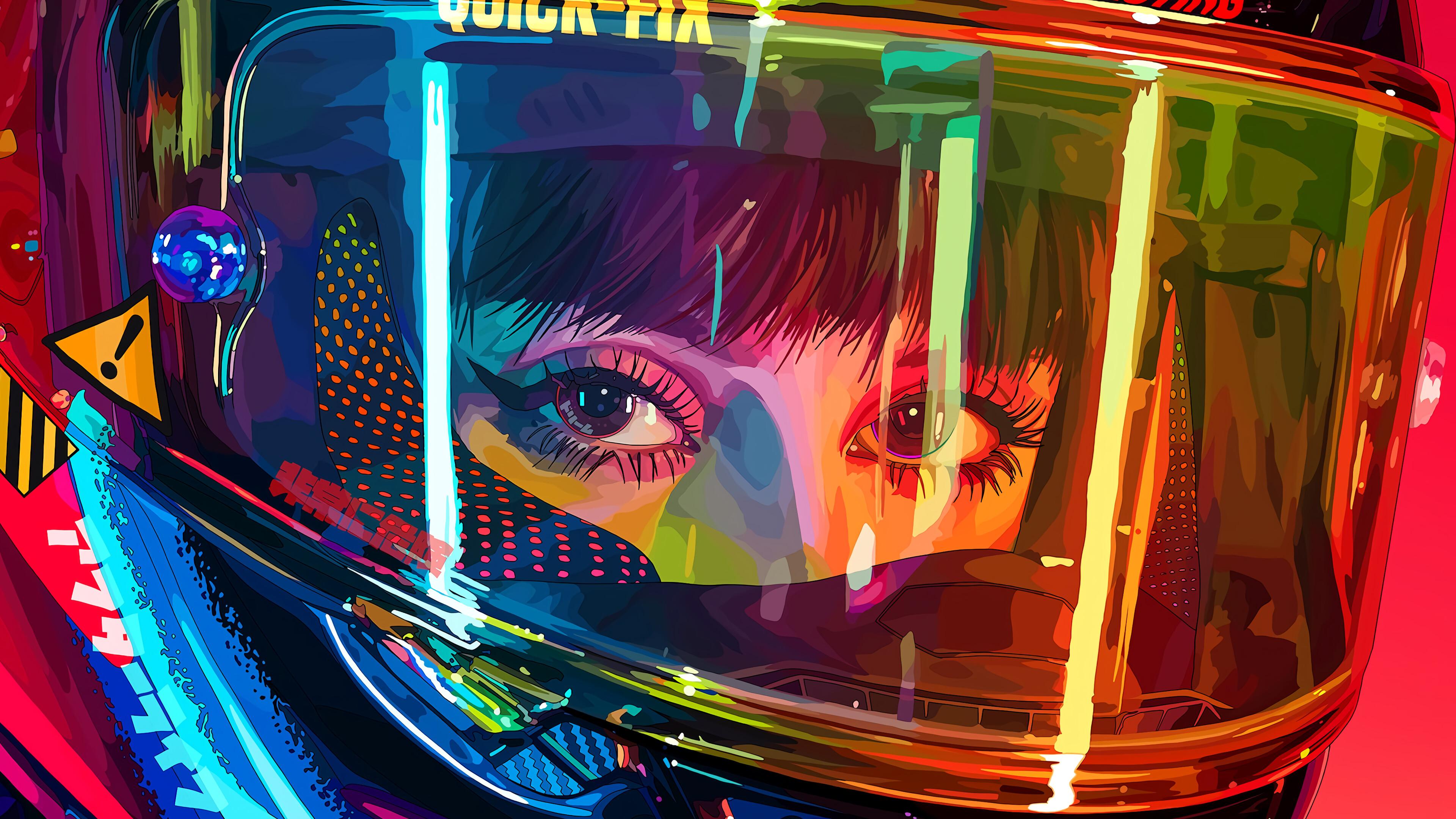 Fondos de pantalla Mujer motociclista con casco de colores