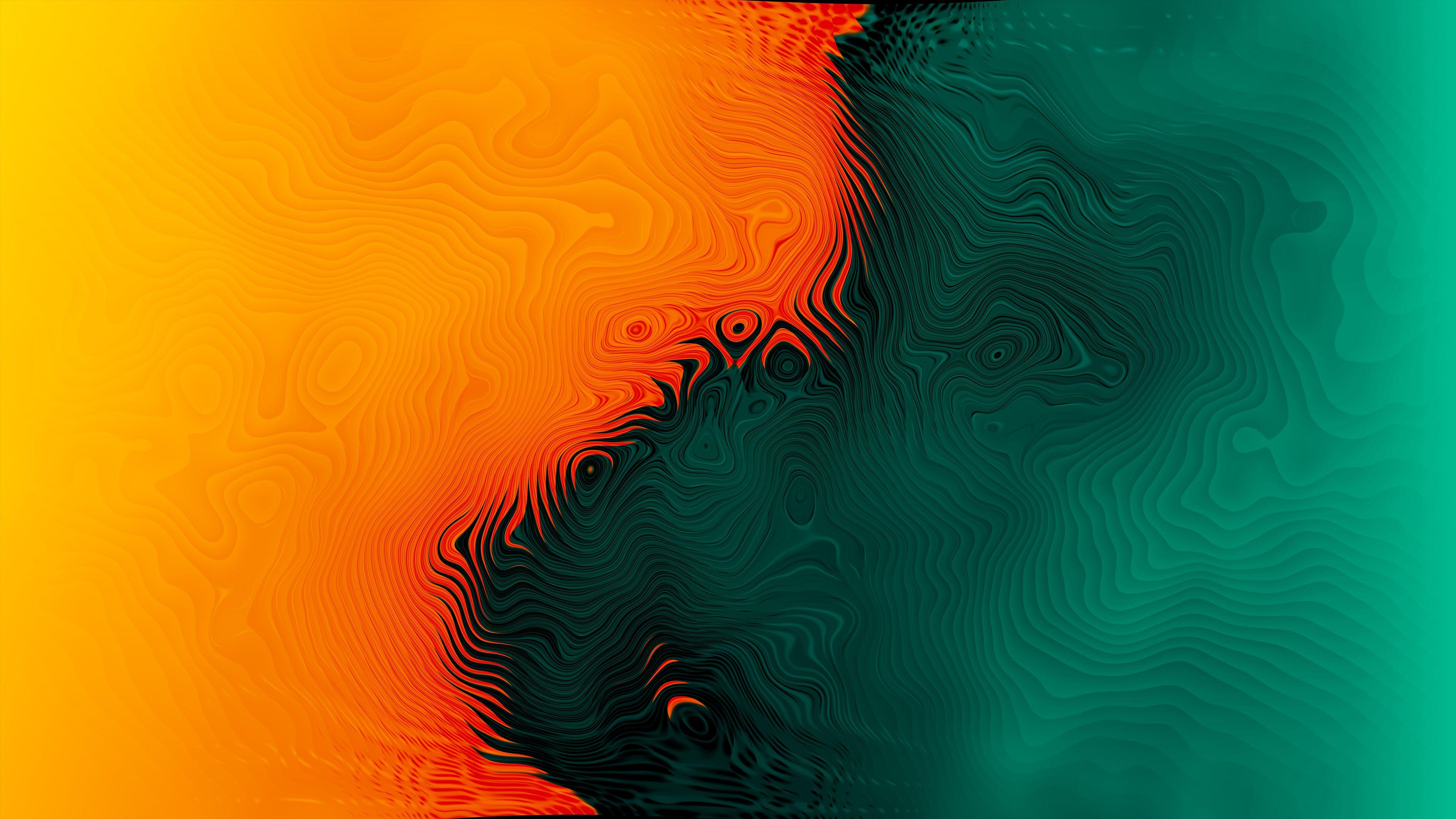 Fondos de pantalla Naranja y verde con olas