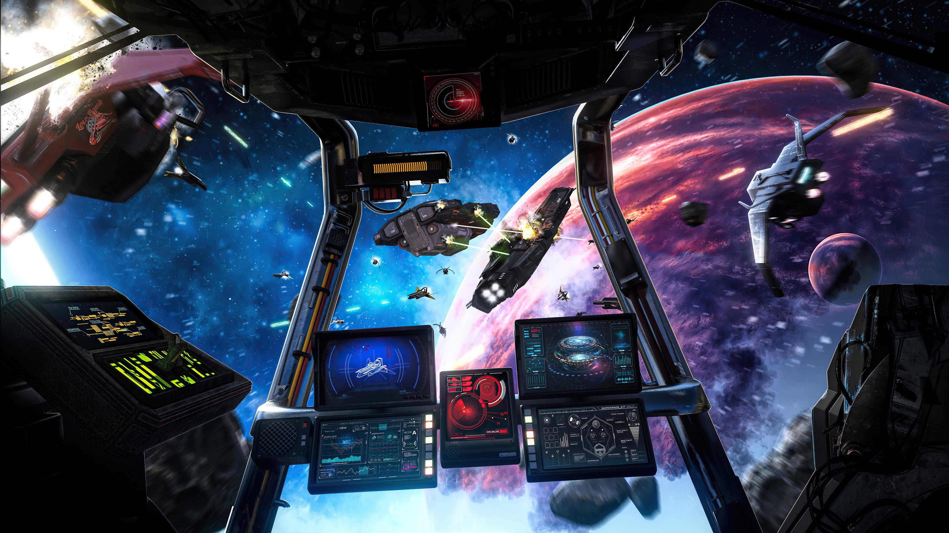 Fondos de pantalla Nave espacial en batalla