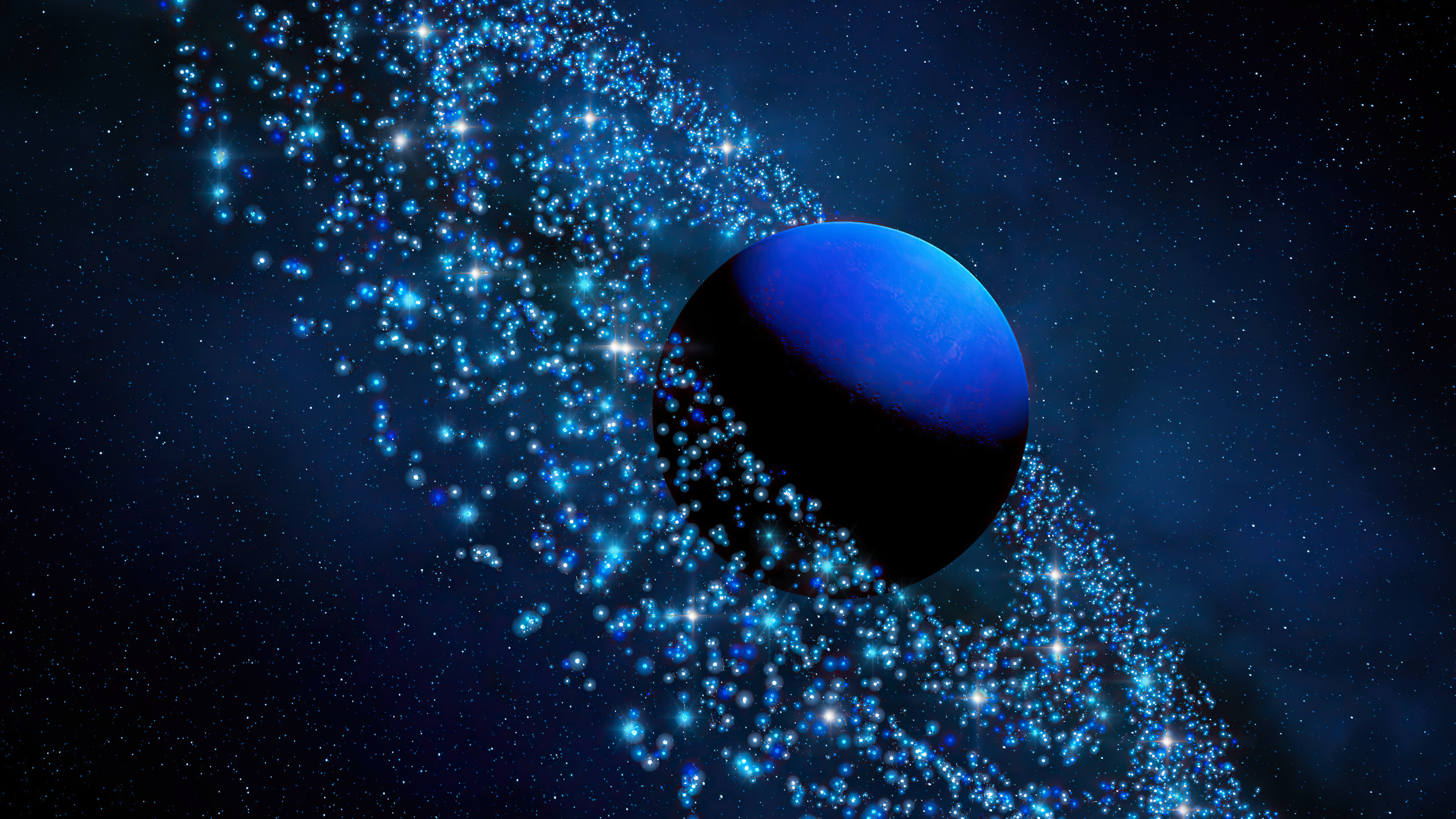 Wallpaper Neptune with asteroids