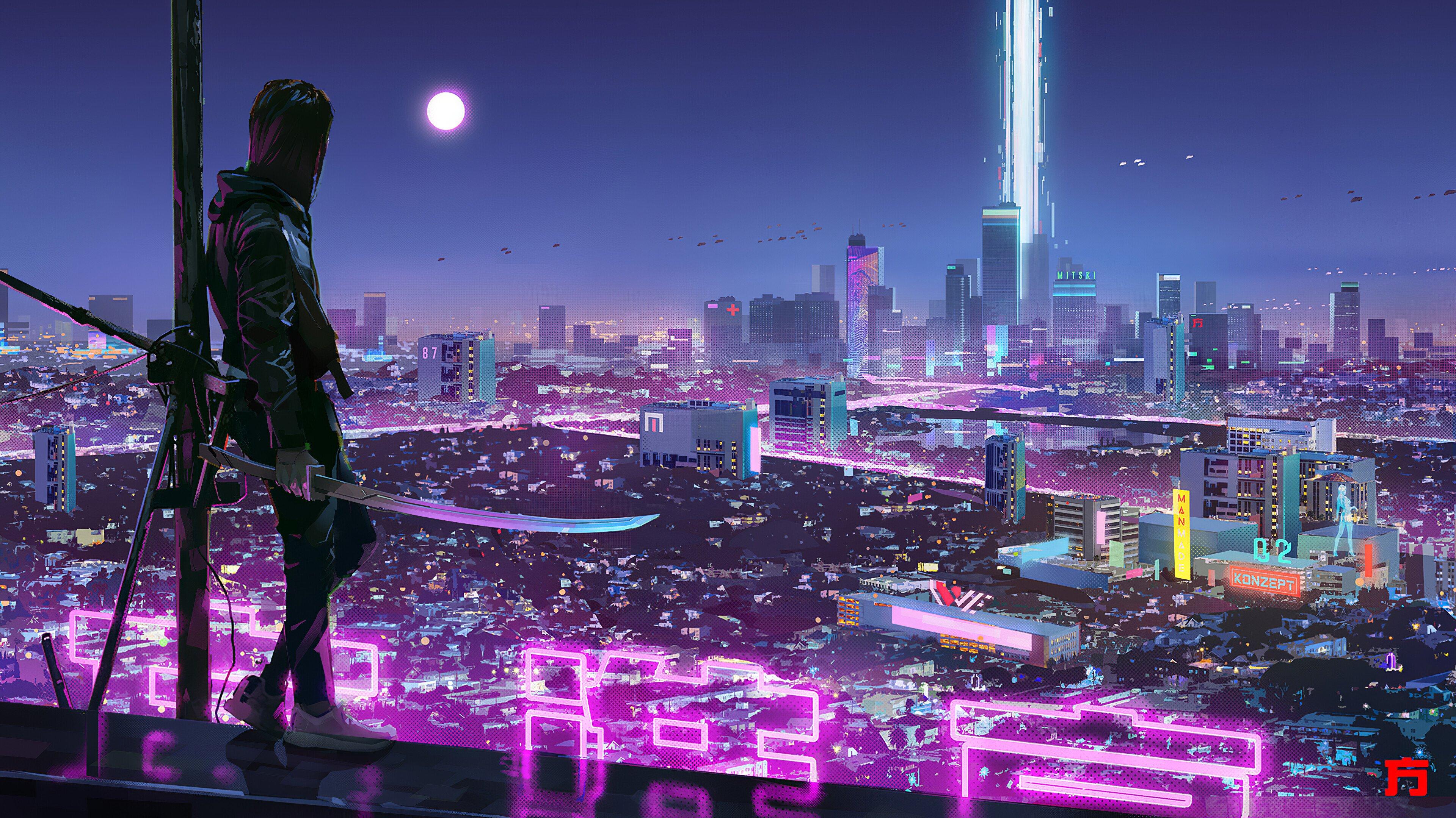 Wallpaper Ninja Katana Sci-Fi City Neon Lights