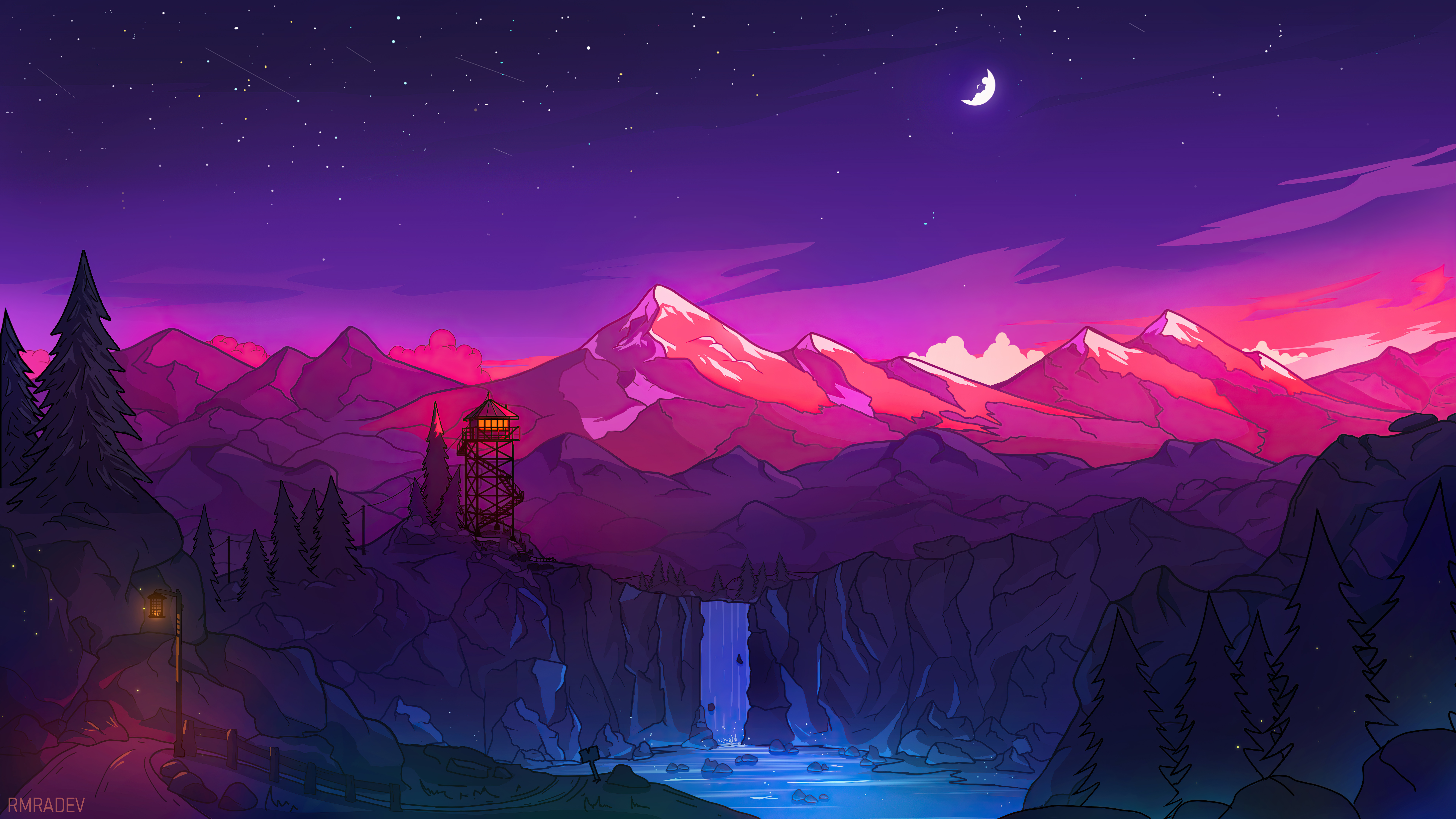 Wallpaper Colorful night in the mountains Digital Art