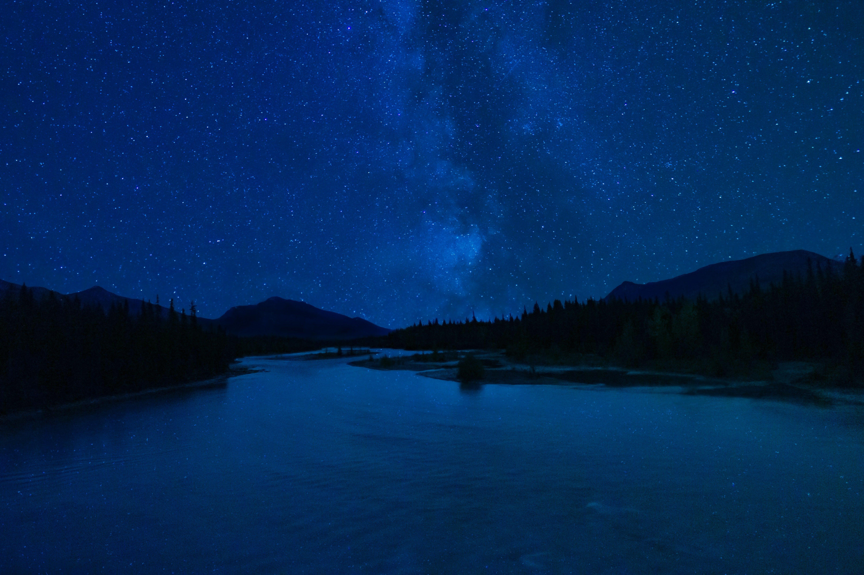 Wallpaper Dark night at lake