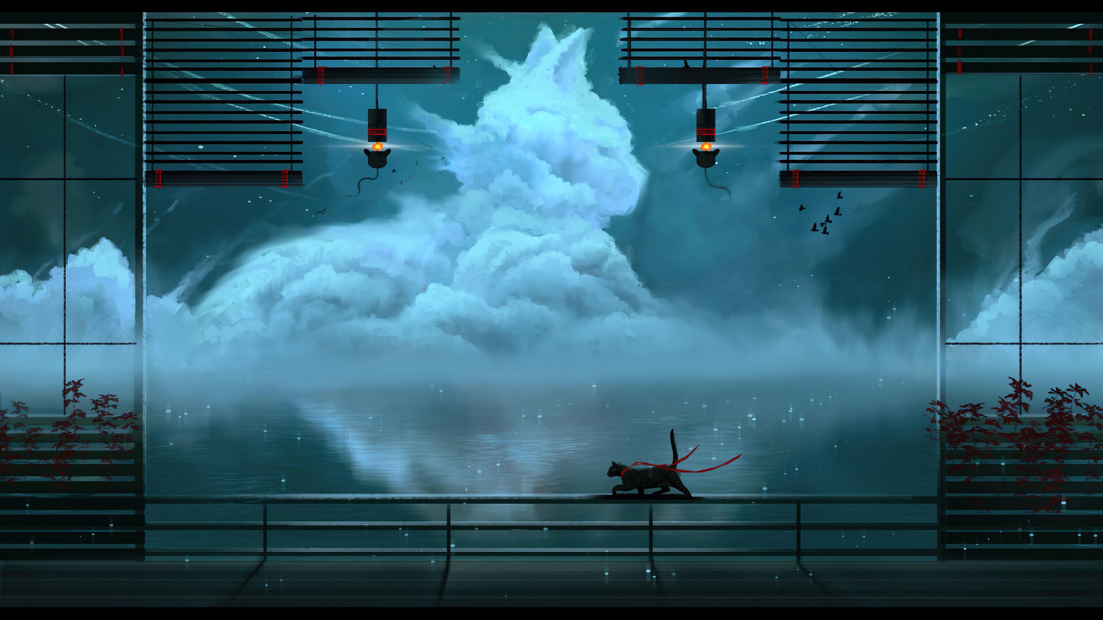 Wallpaper Clouds shaped like cat