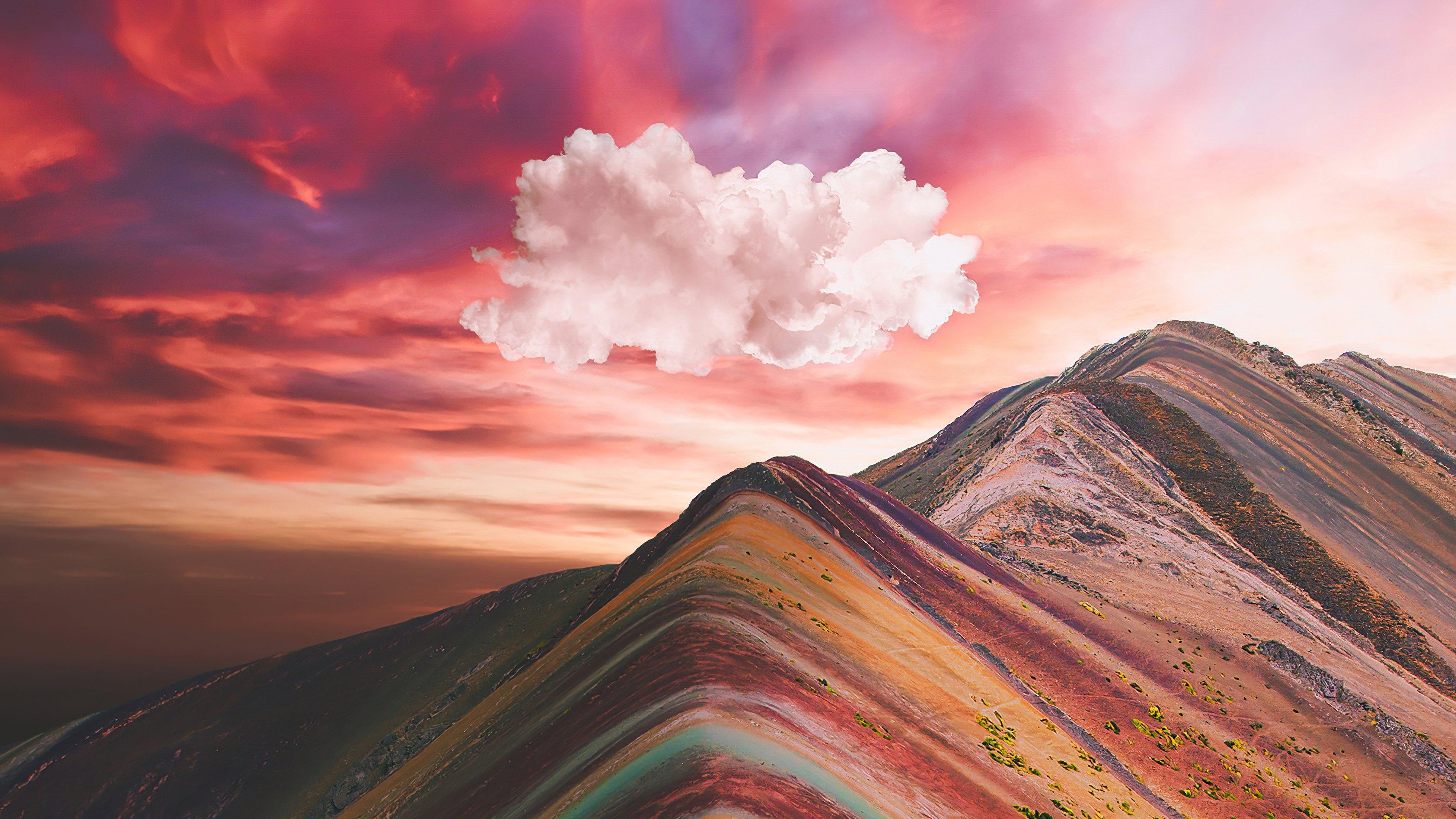 Fondos de pantalla Nubes sobre las montañas de arcoiris Vinicunca