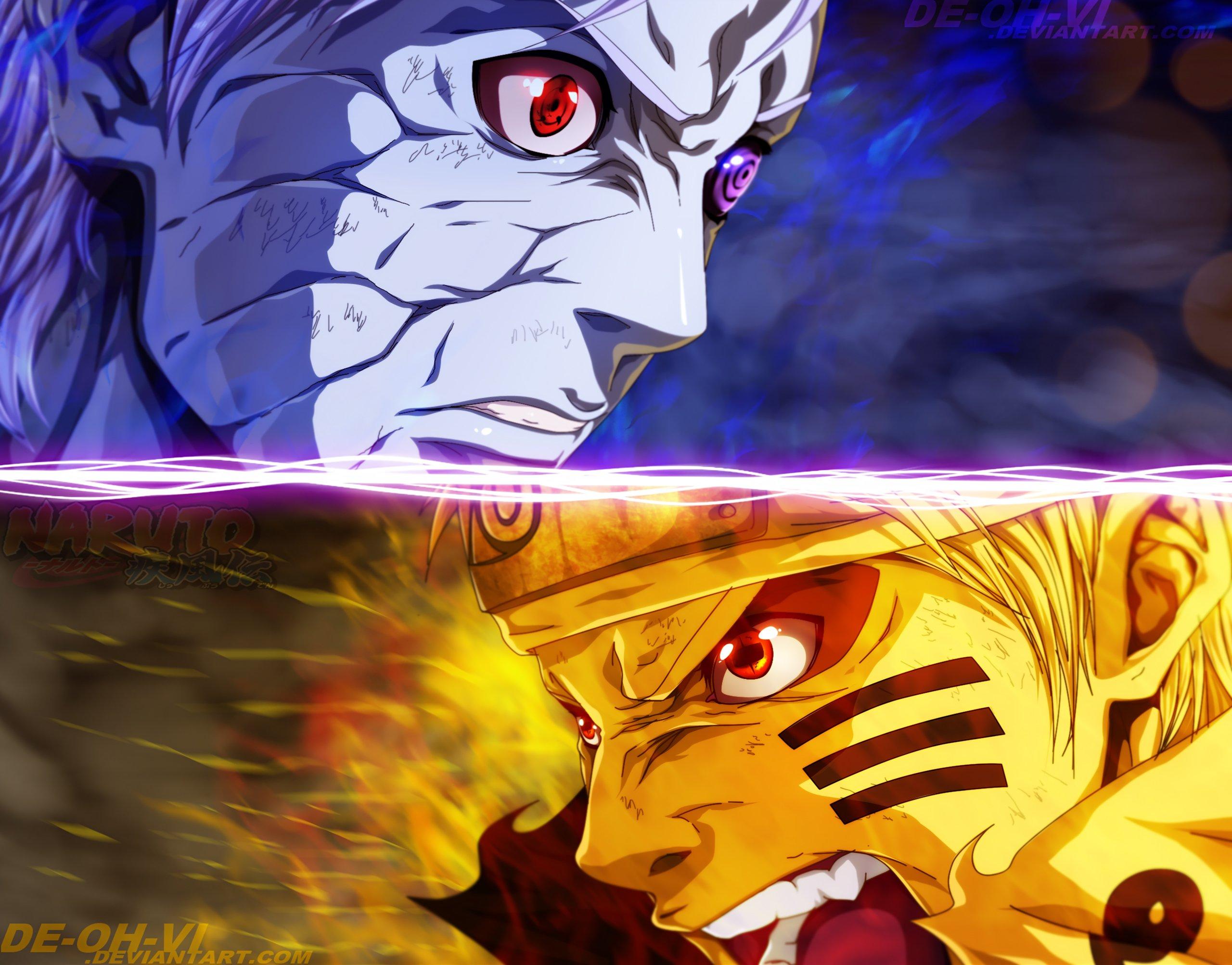 Fondos de pantalla Anime Obito Uchiha contra Naruto Uzumaki