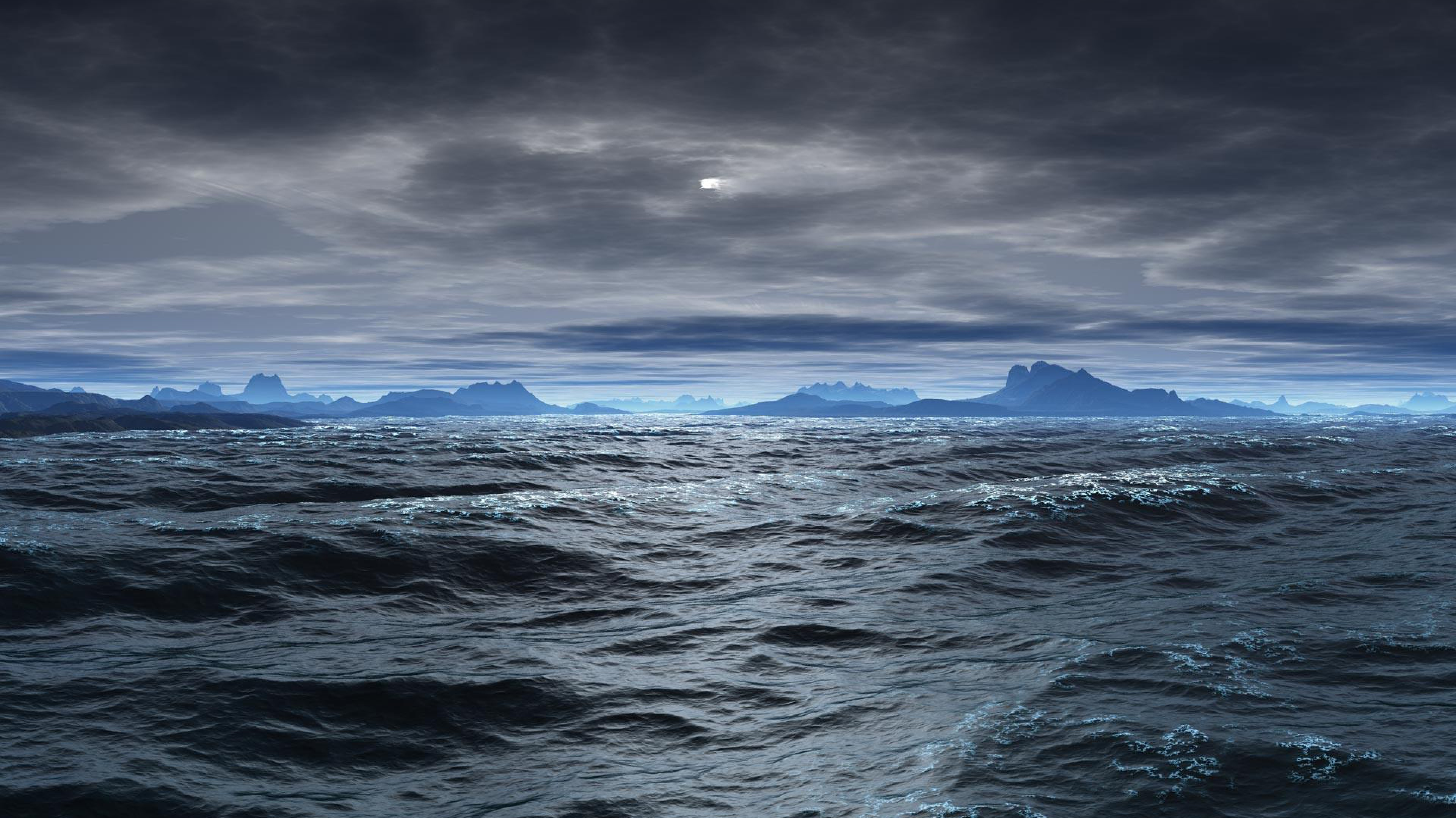 Wallpaper Ocean with storm clouds