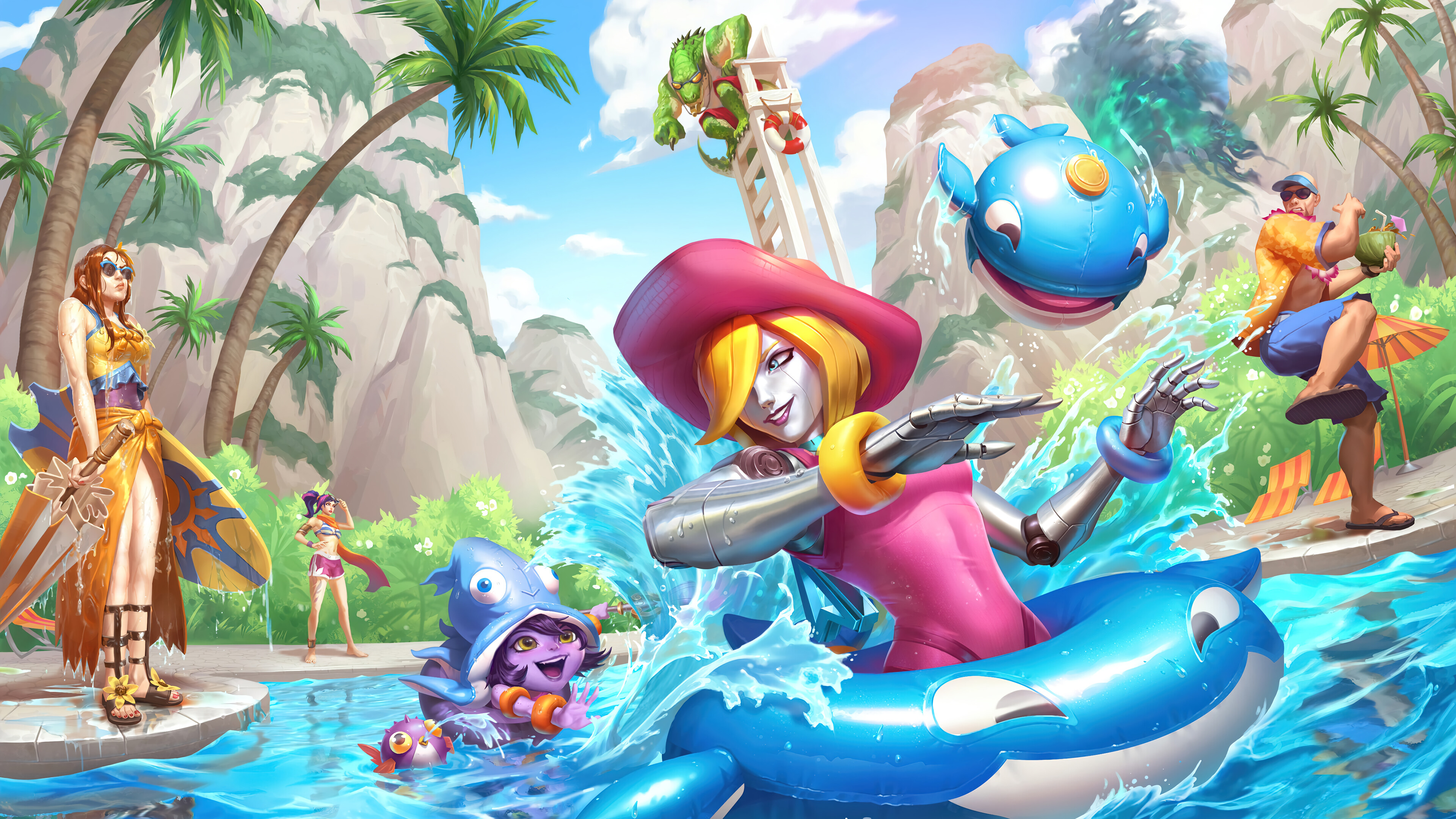 Wallpaper Oriana and Lulu League of Legends Rift Pool Party