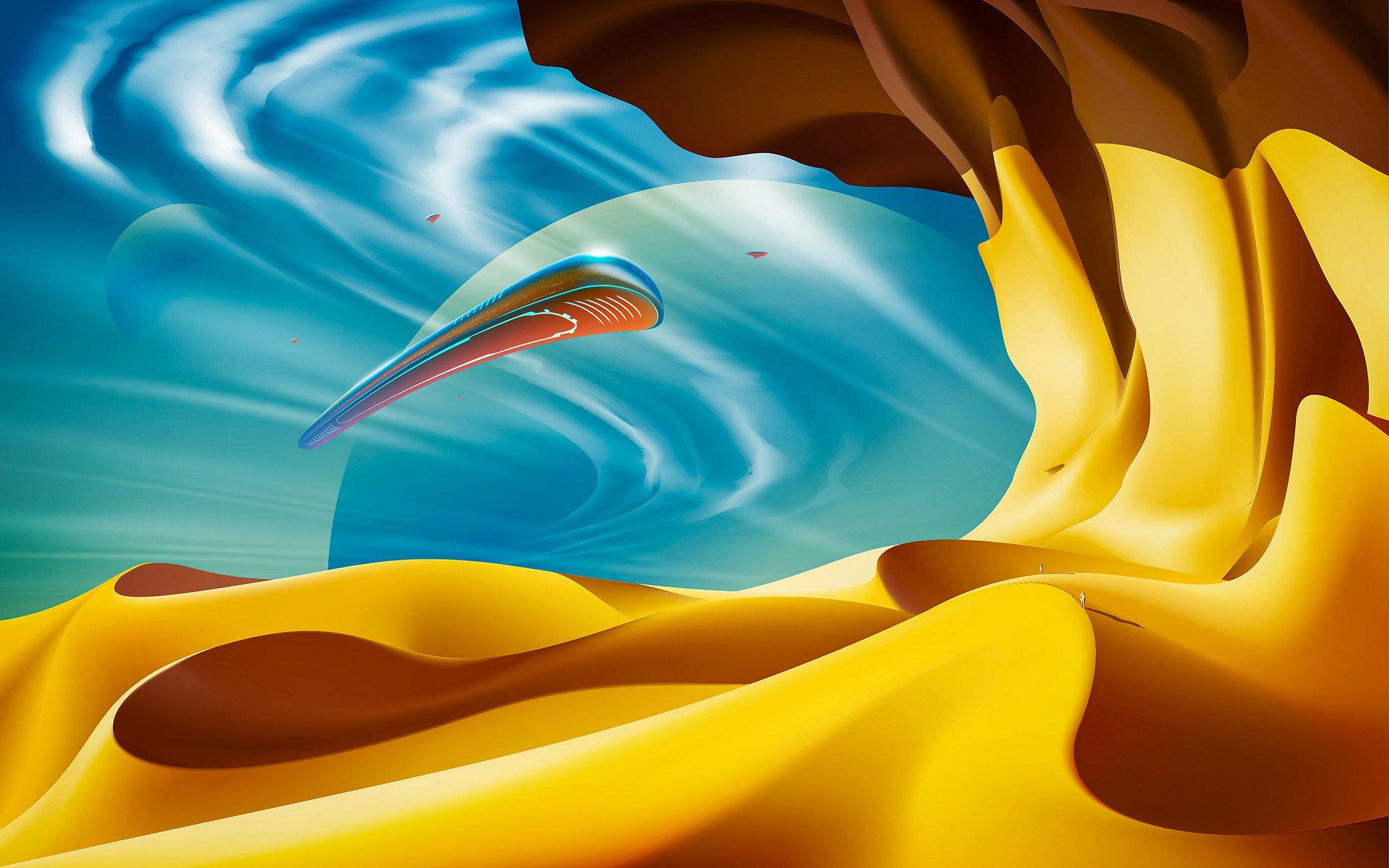 Wallpaper UFO in the desert
