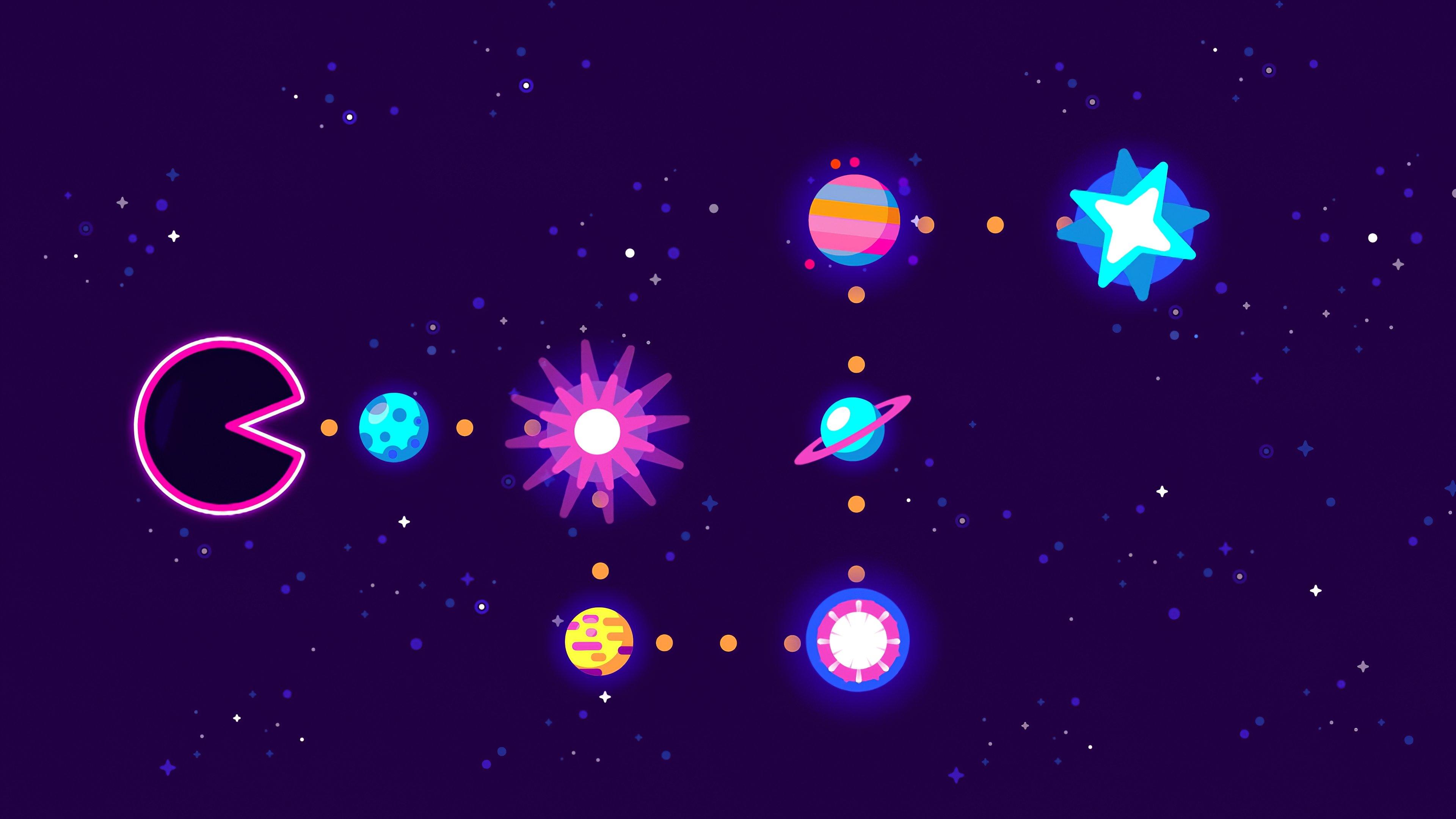 Pacman Eating Planets Wallpaper 4k Ultra Hd Id 5169