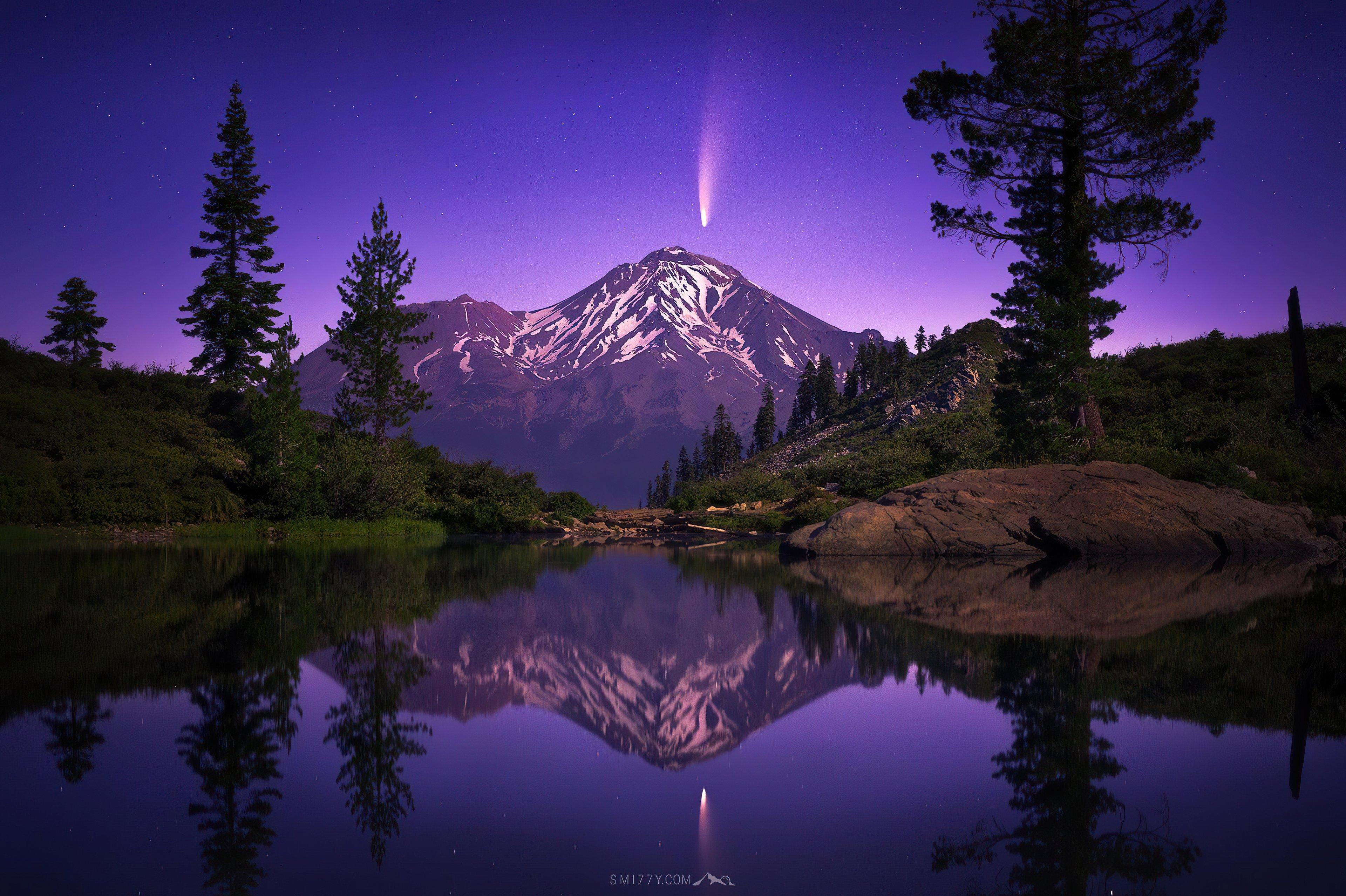 Fondos de pantalla Paisaje de bosque con montañas y lago