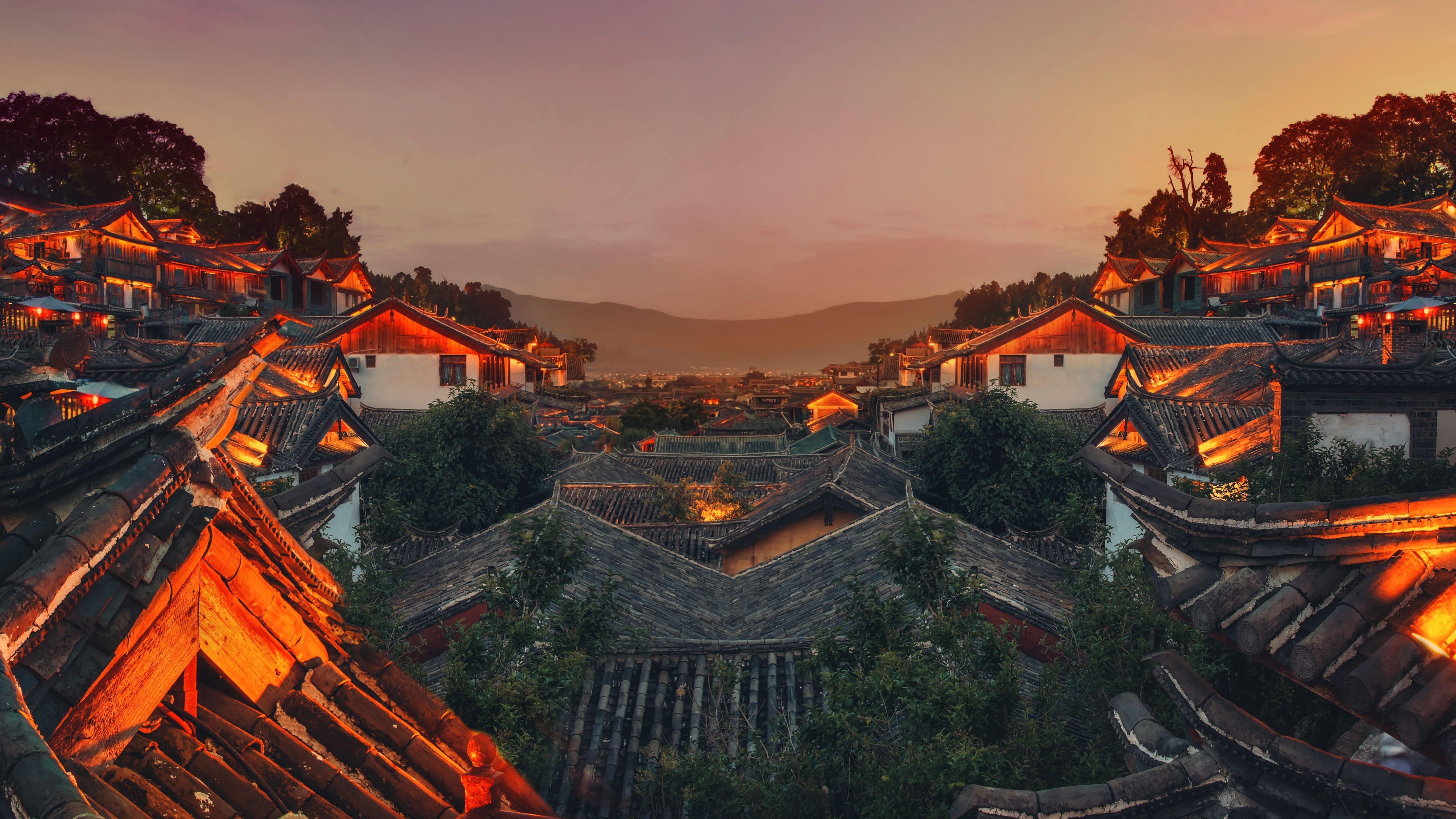 Paisaje De China Al Atardecer Fondo De Pantalla 5k Ultra Hd