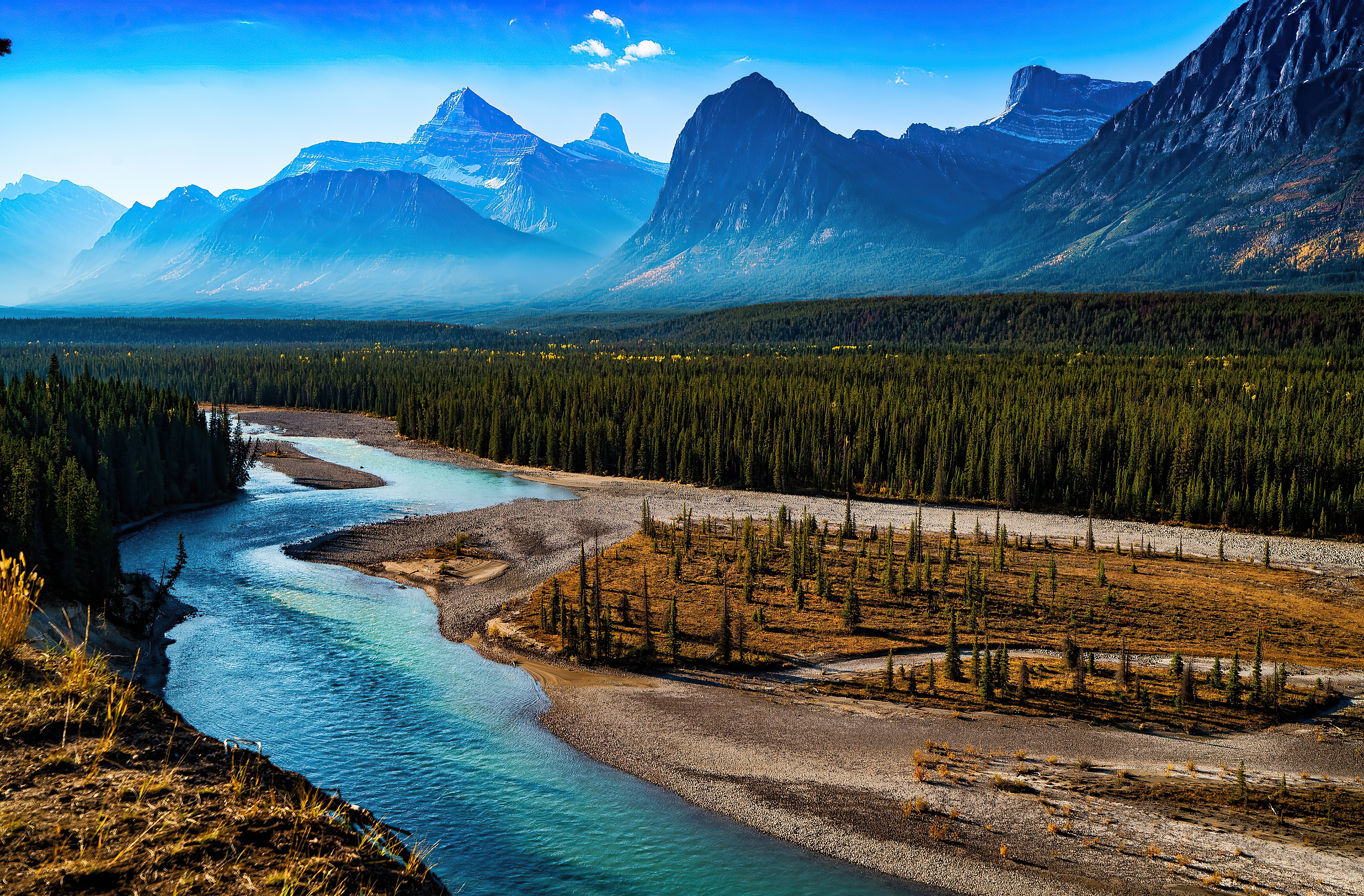 Wallpaper Landscape of mountains in forest with river