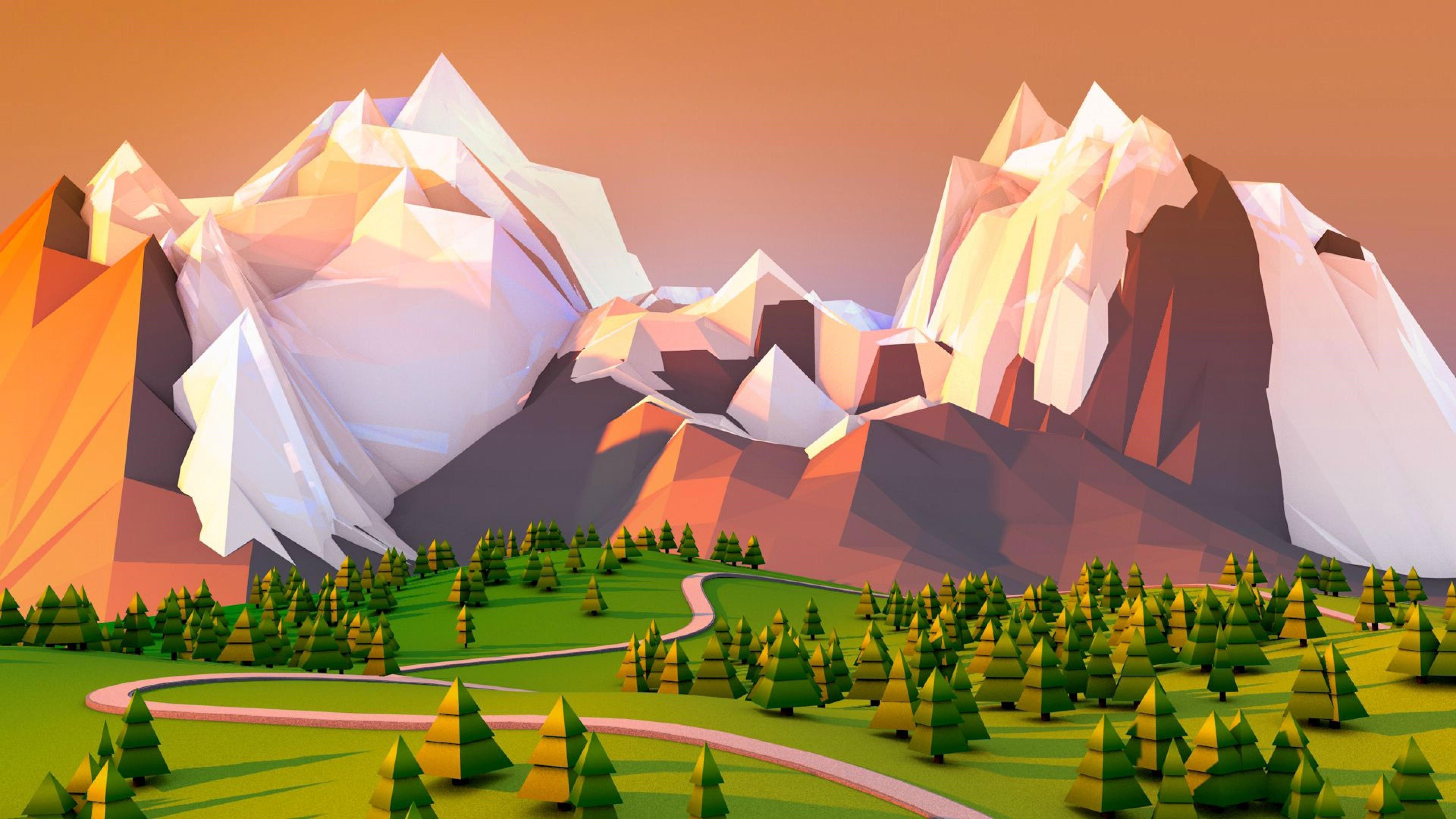 Fondo de pantalla de Paisaje poligonal 3D Imágenes