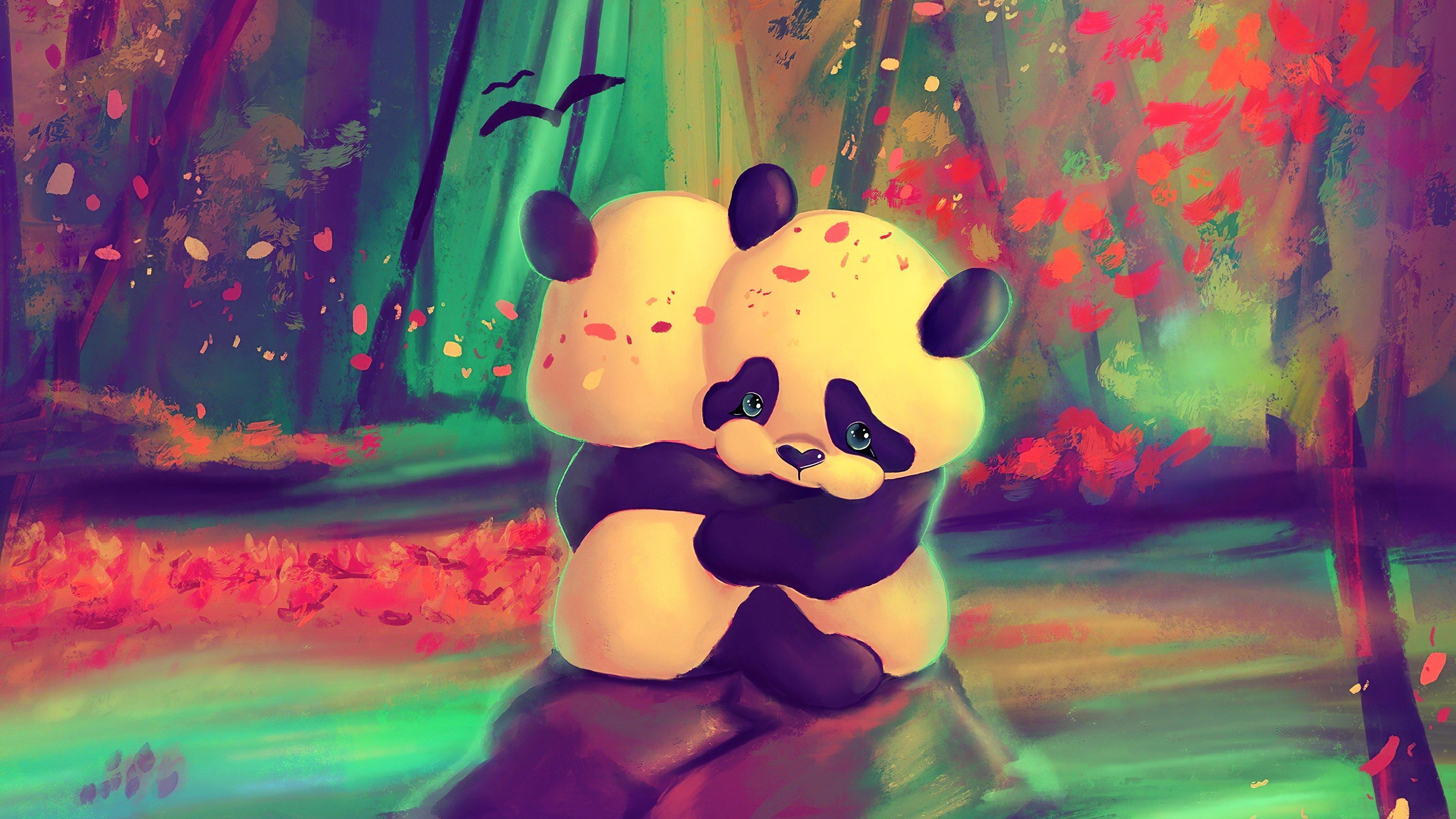 Fondos de pantalla Pandas abrazados