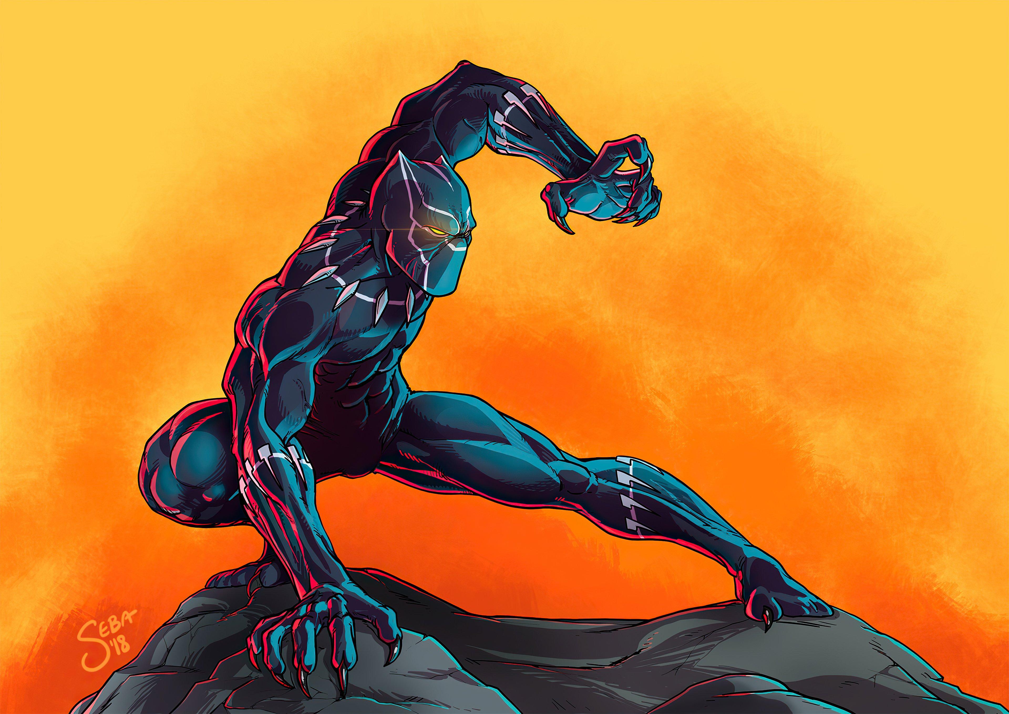 Fondos de pantalla Pantera negra Pintura de Arte Digital