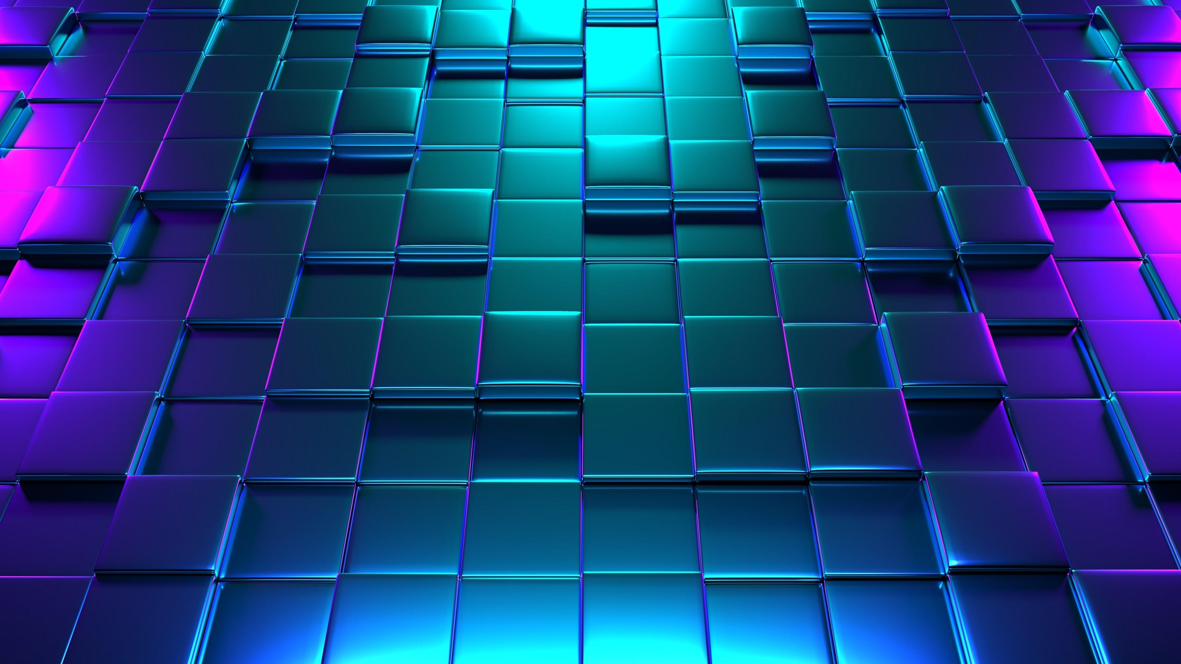 Wallpaper 3D cubes pattern neon lighting