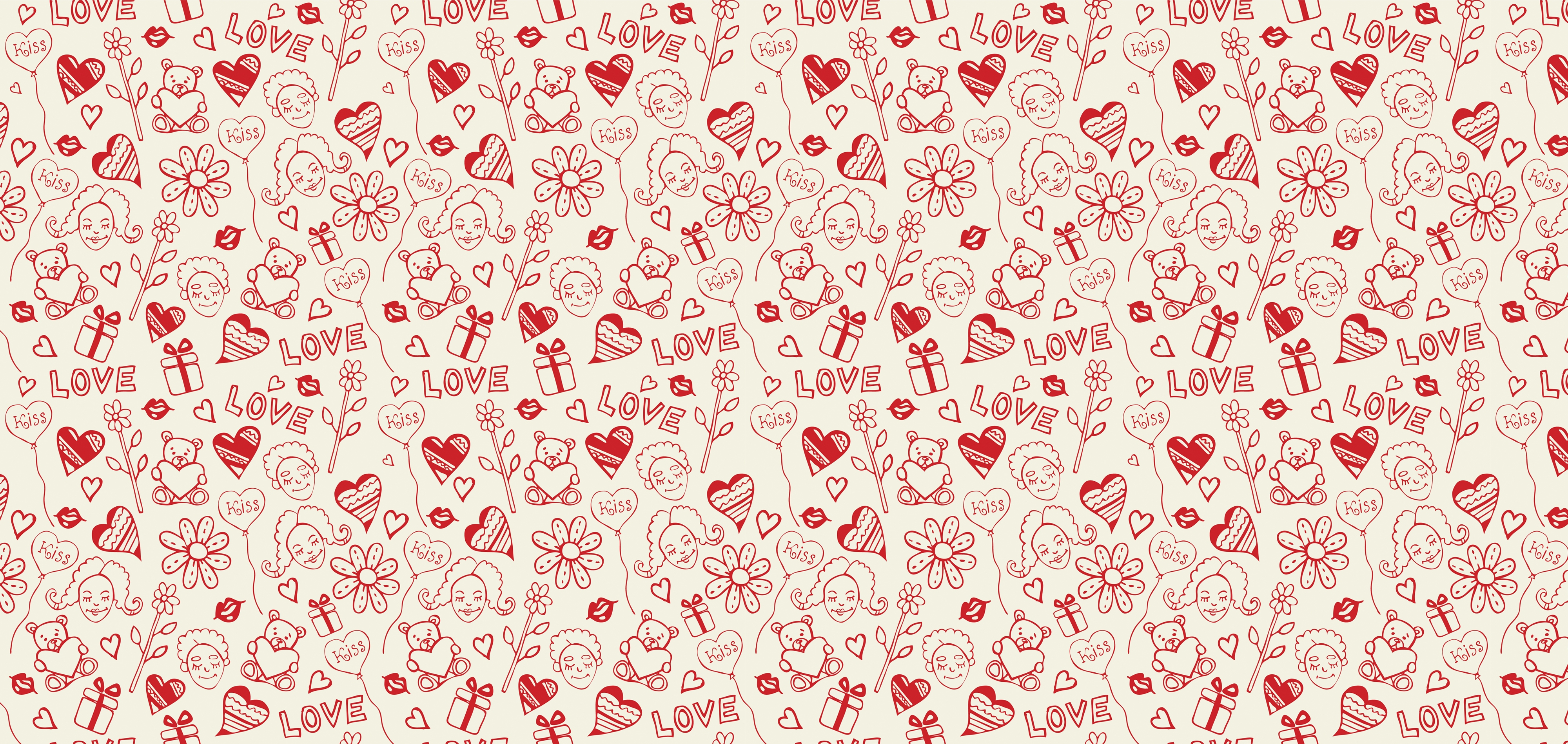 Wallpaper Design pattern about hearts, balloons, flowers, kisses, bears and gifts