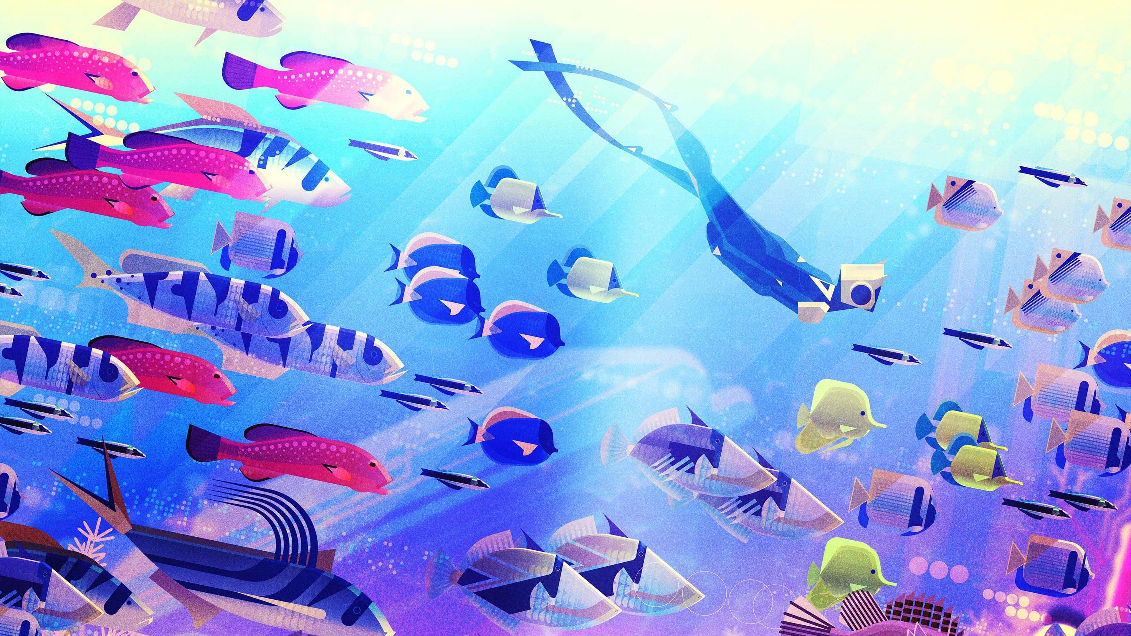 Fondos de pantalla Peces debajo del agua en arte digital