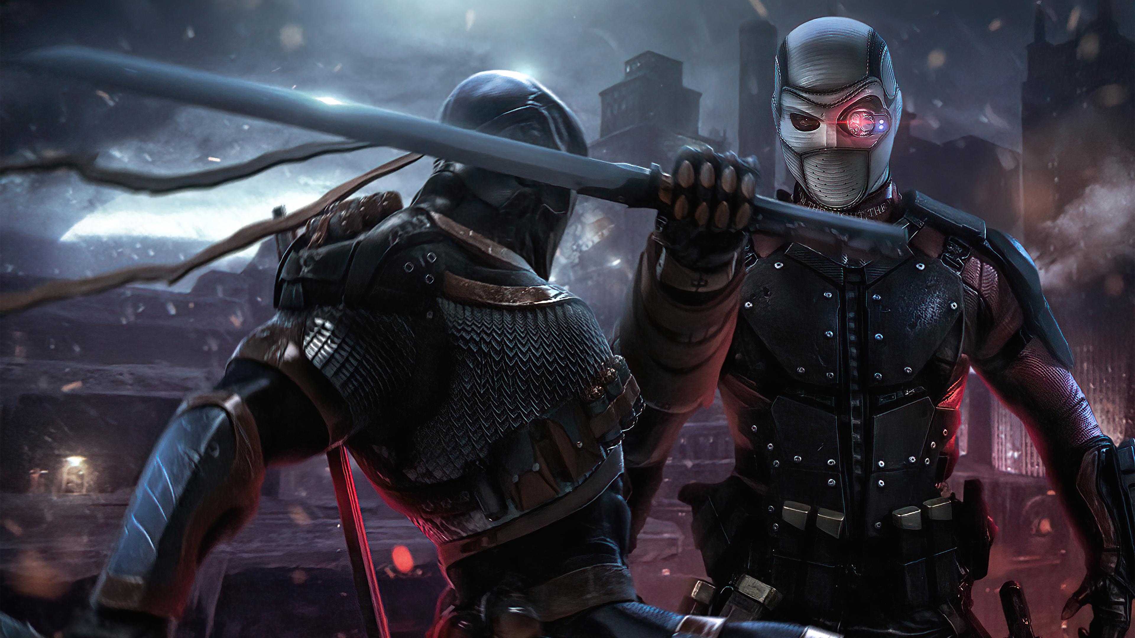 Fondos de pantalla Pelea de Deathstroke vs Deadshot