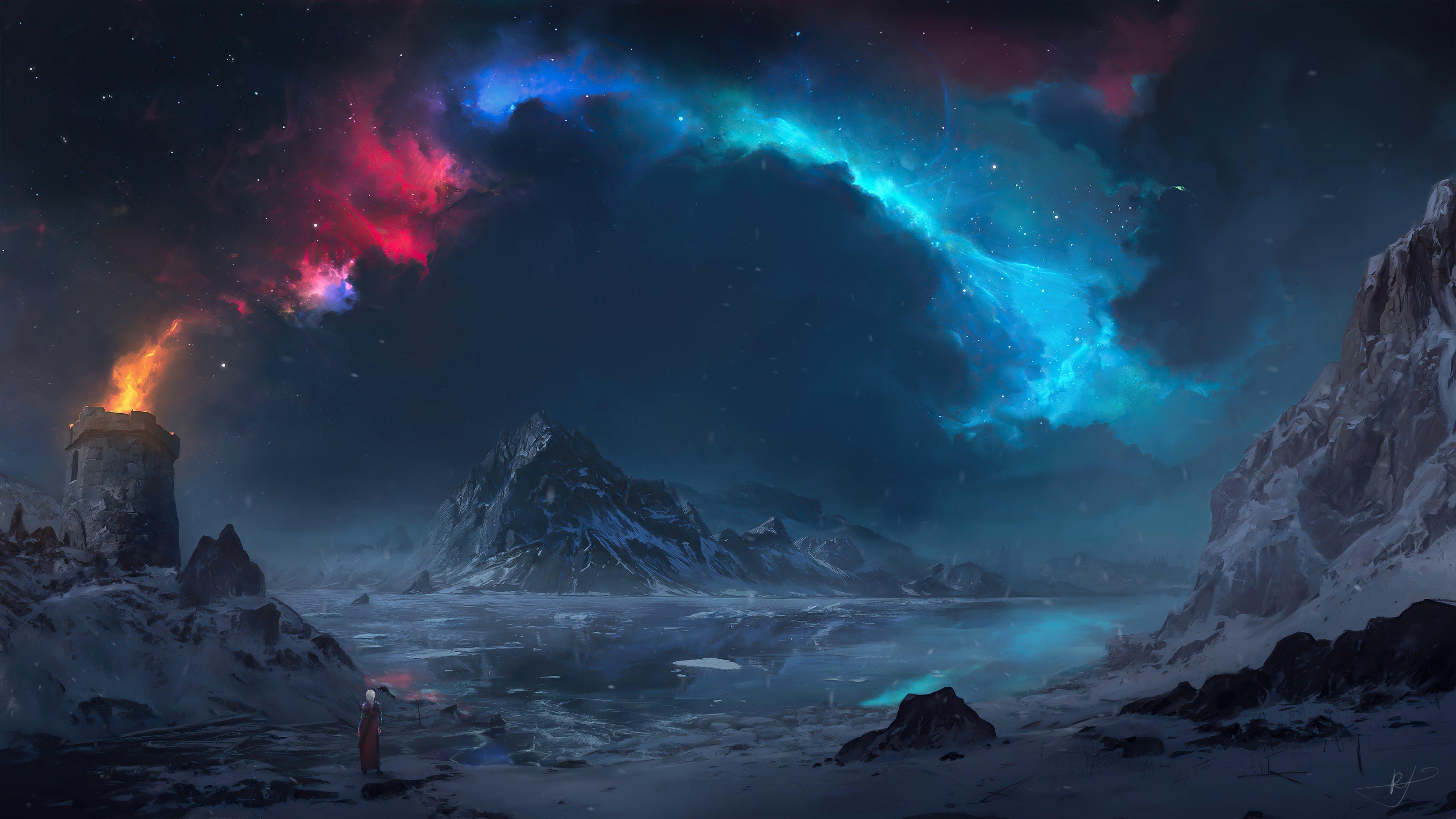 Fondos de pantalla Persona viendo paisaje de torre en las montañas Artwork