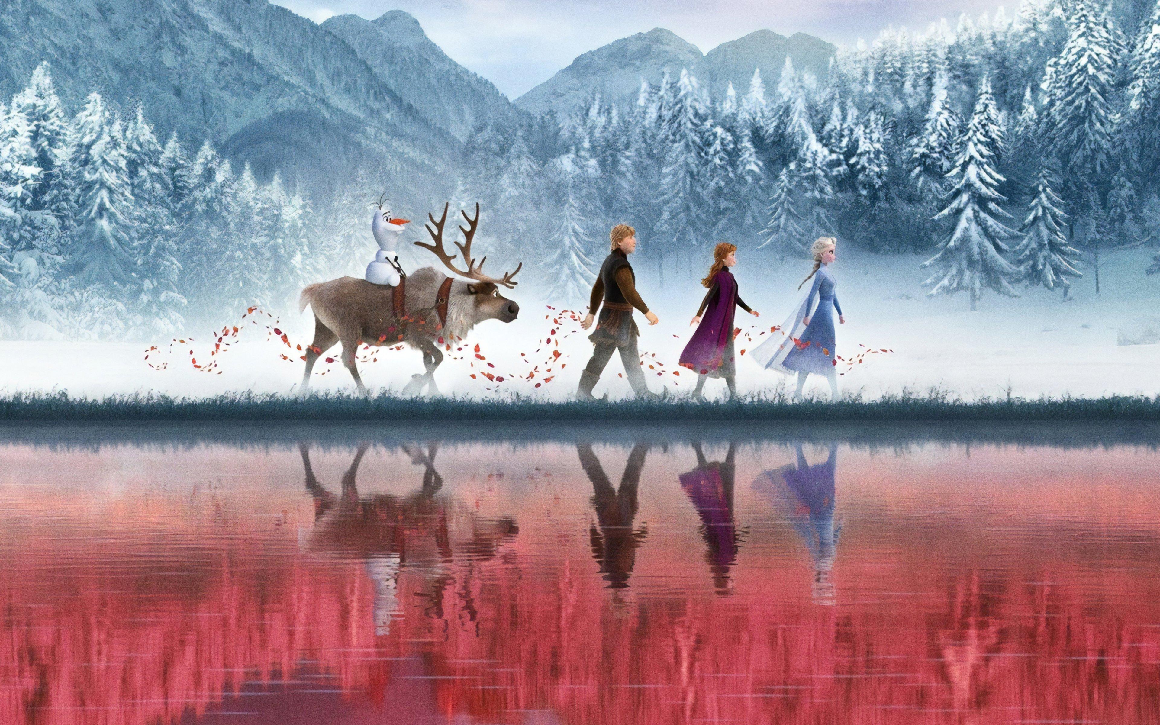 Wallpaper Characters from Frozen walking