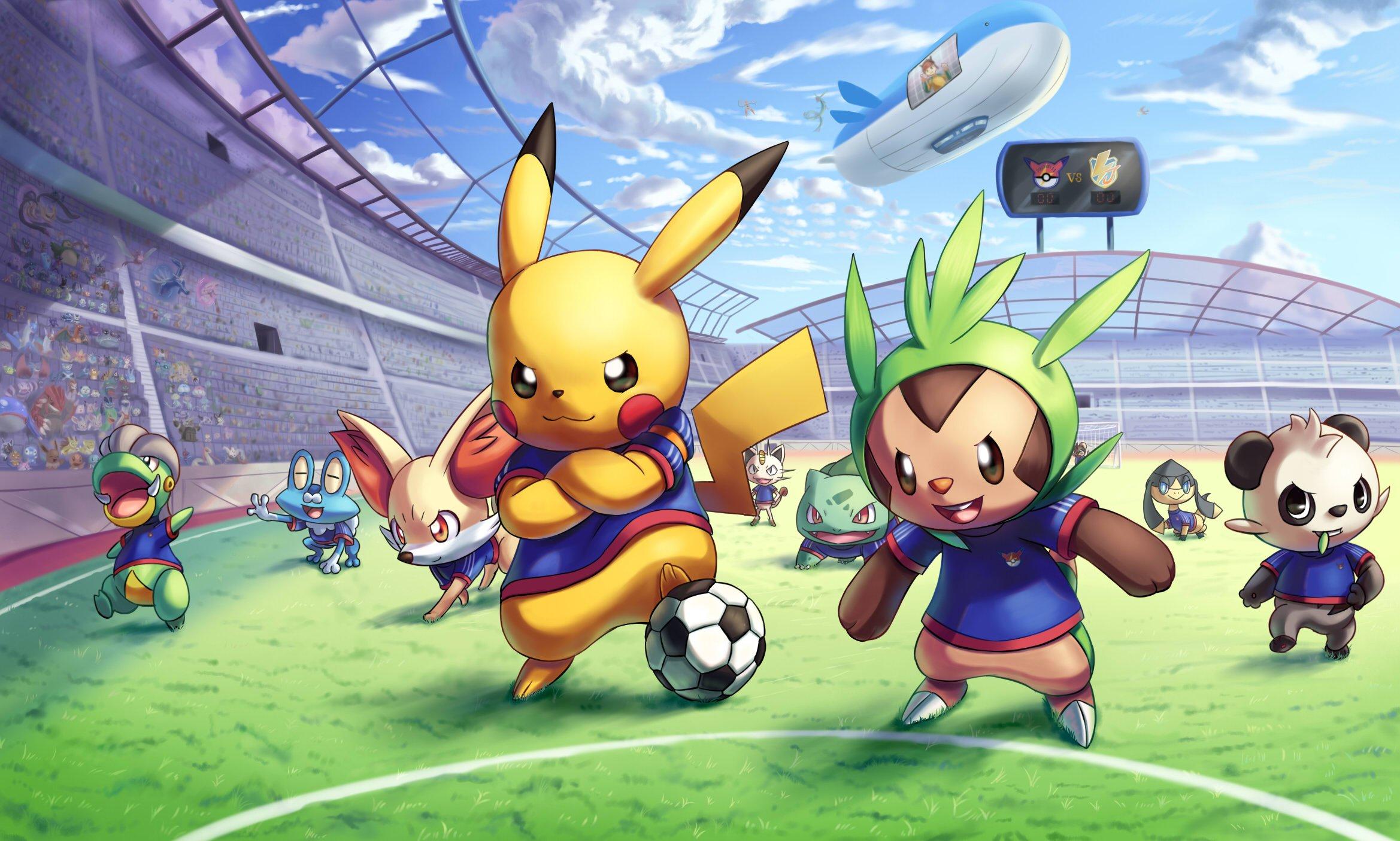 Fondos de pantalla Anime Personajes de Pokemon jugando futbol