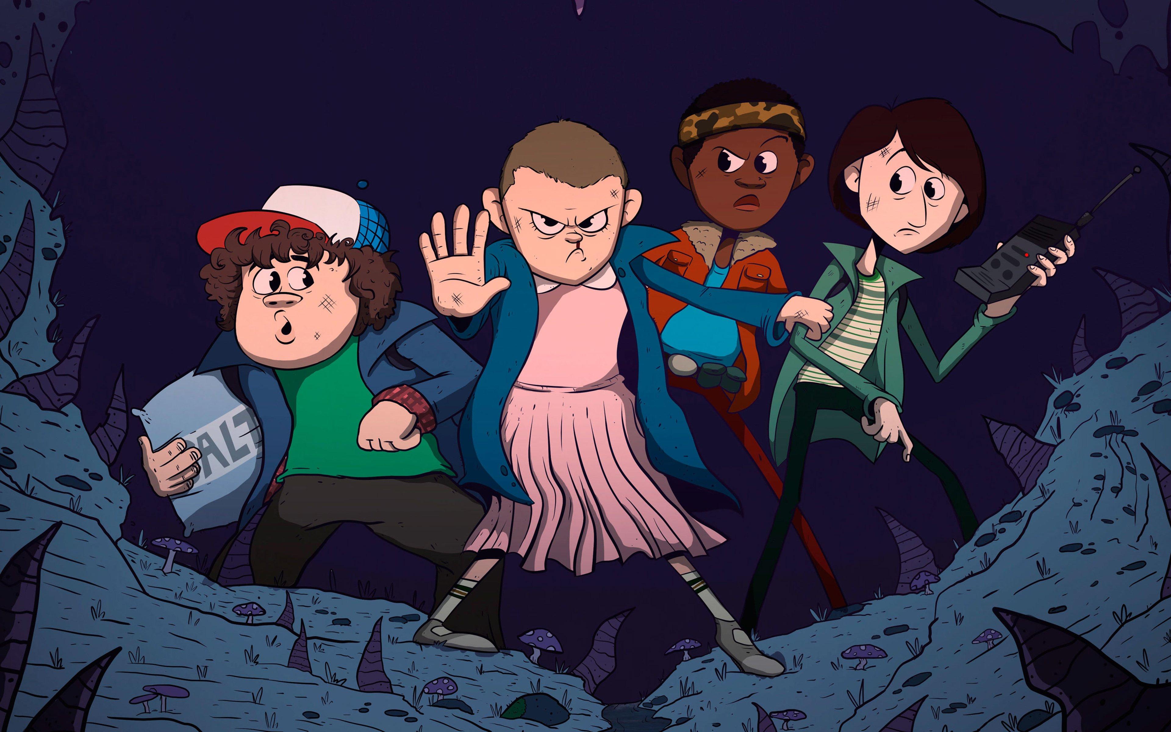 Fondos de pantalla Personajes de Stranger Things en caricatura