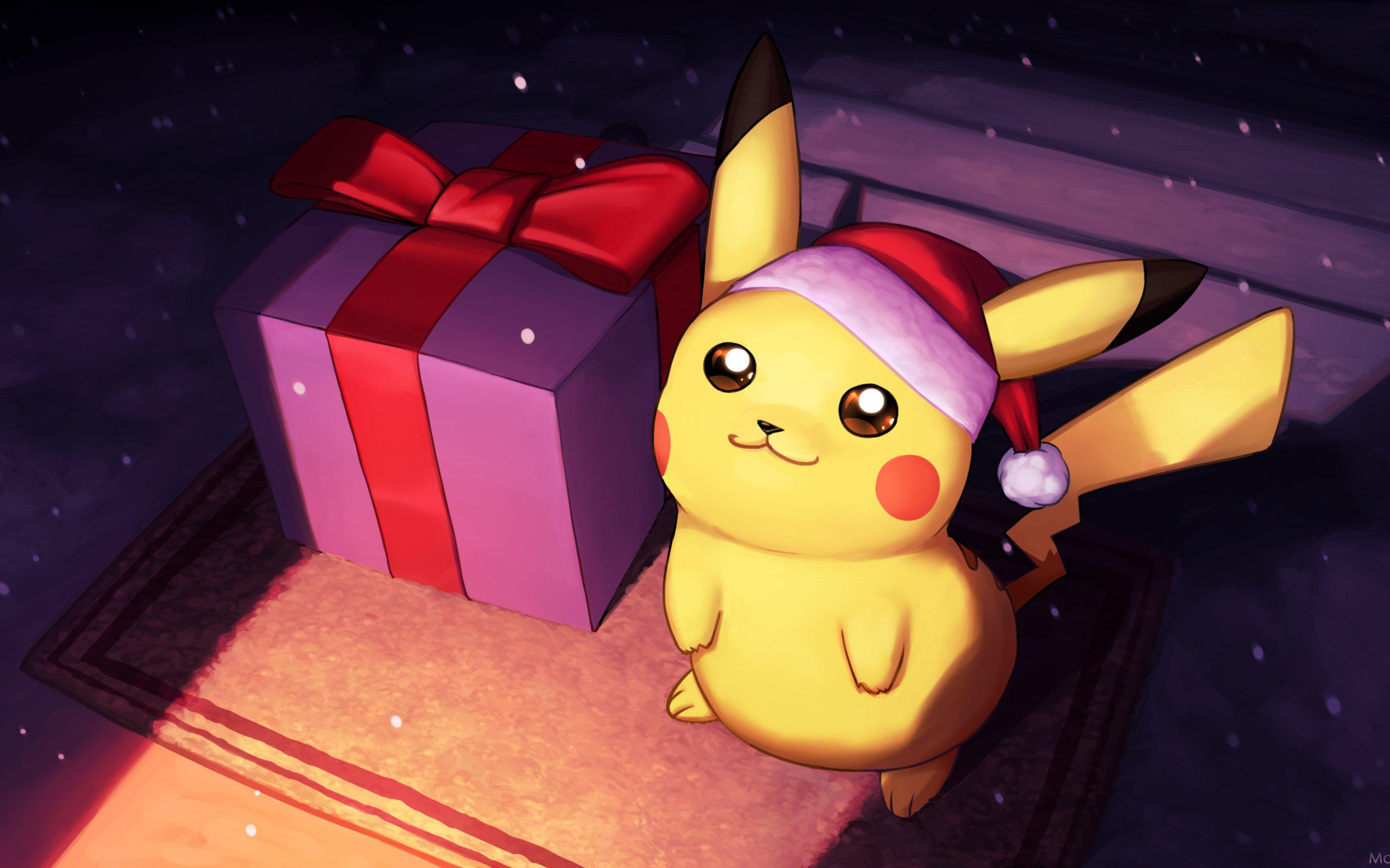 Wallpaper Pikachu on christmas day