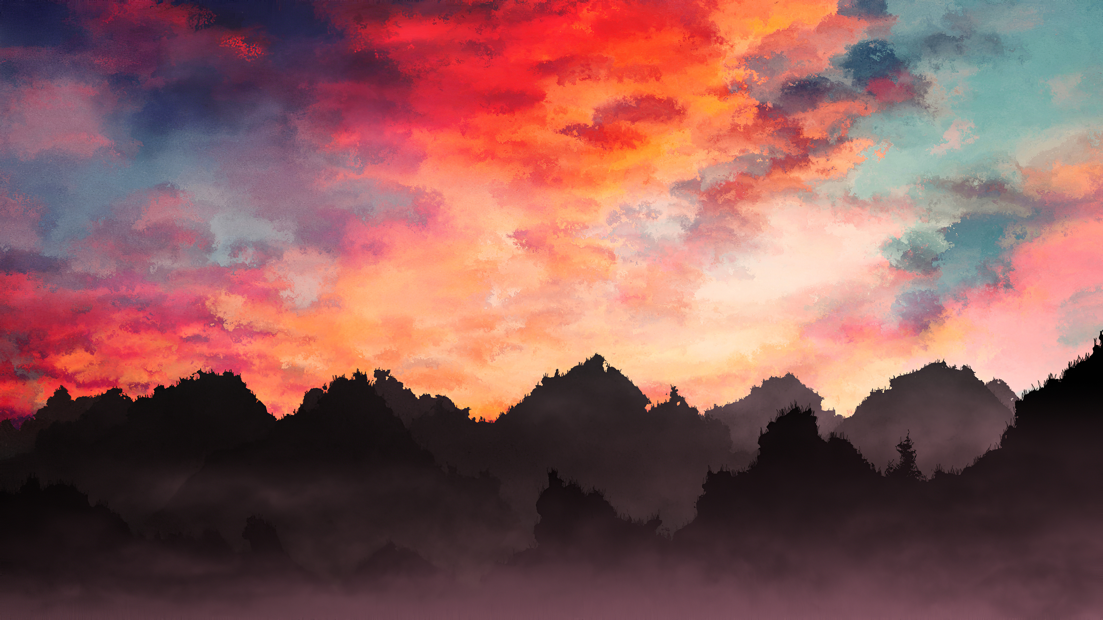 Wallpaper Mountains painting with mist at sunset