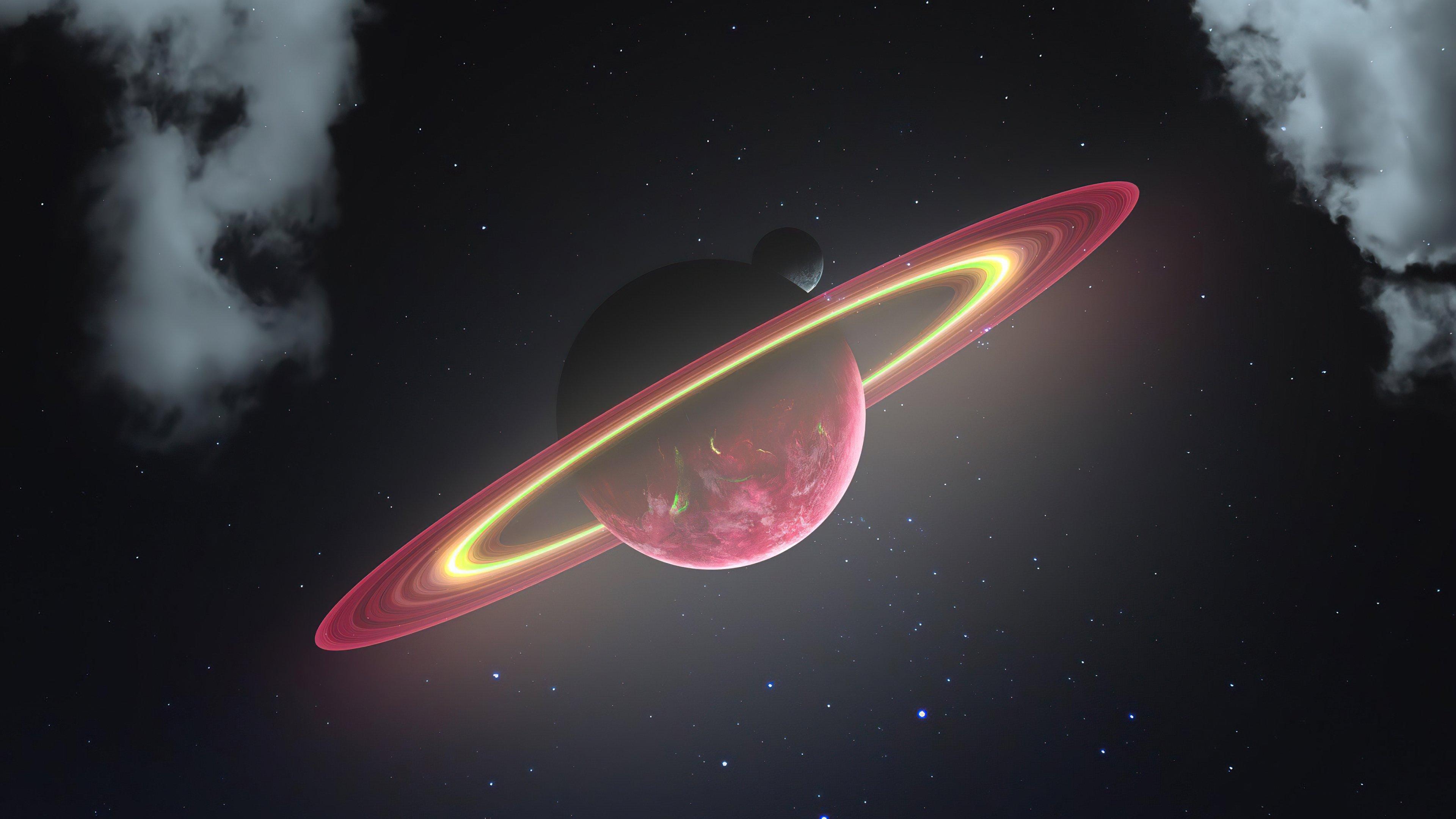 Fondos de pantalla Planeta con anillo y luna