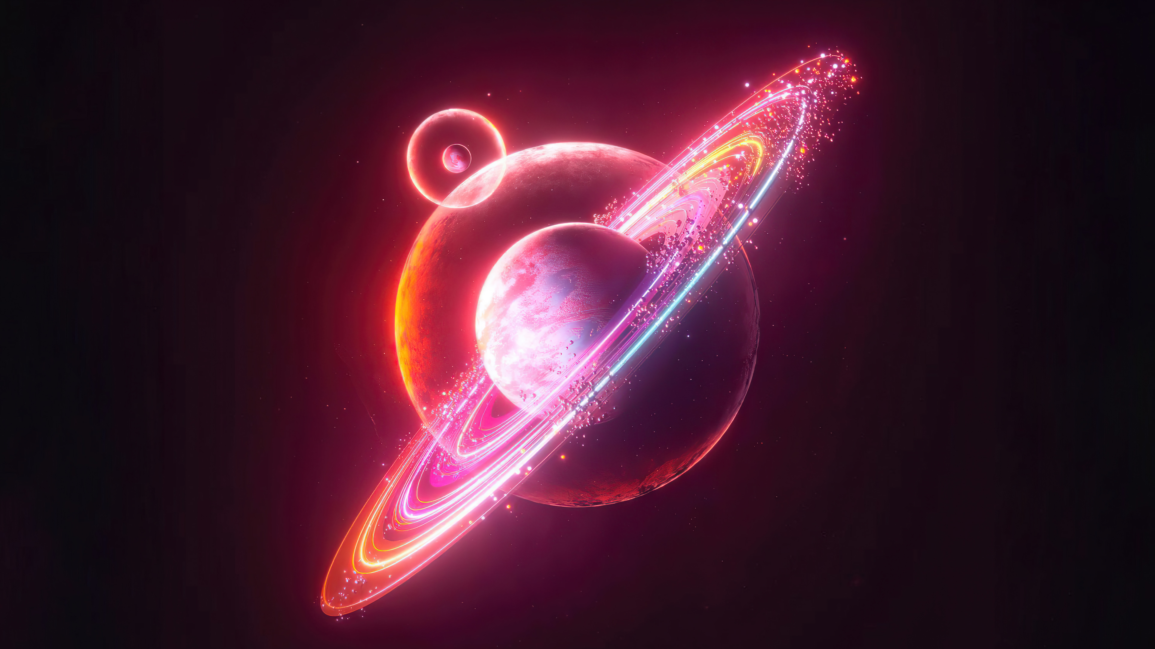 Wallpaper PLanet with ring Digital Art