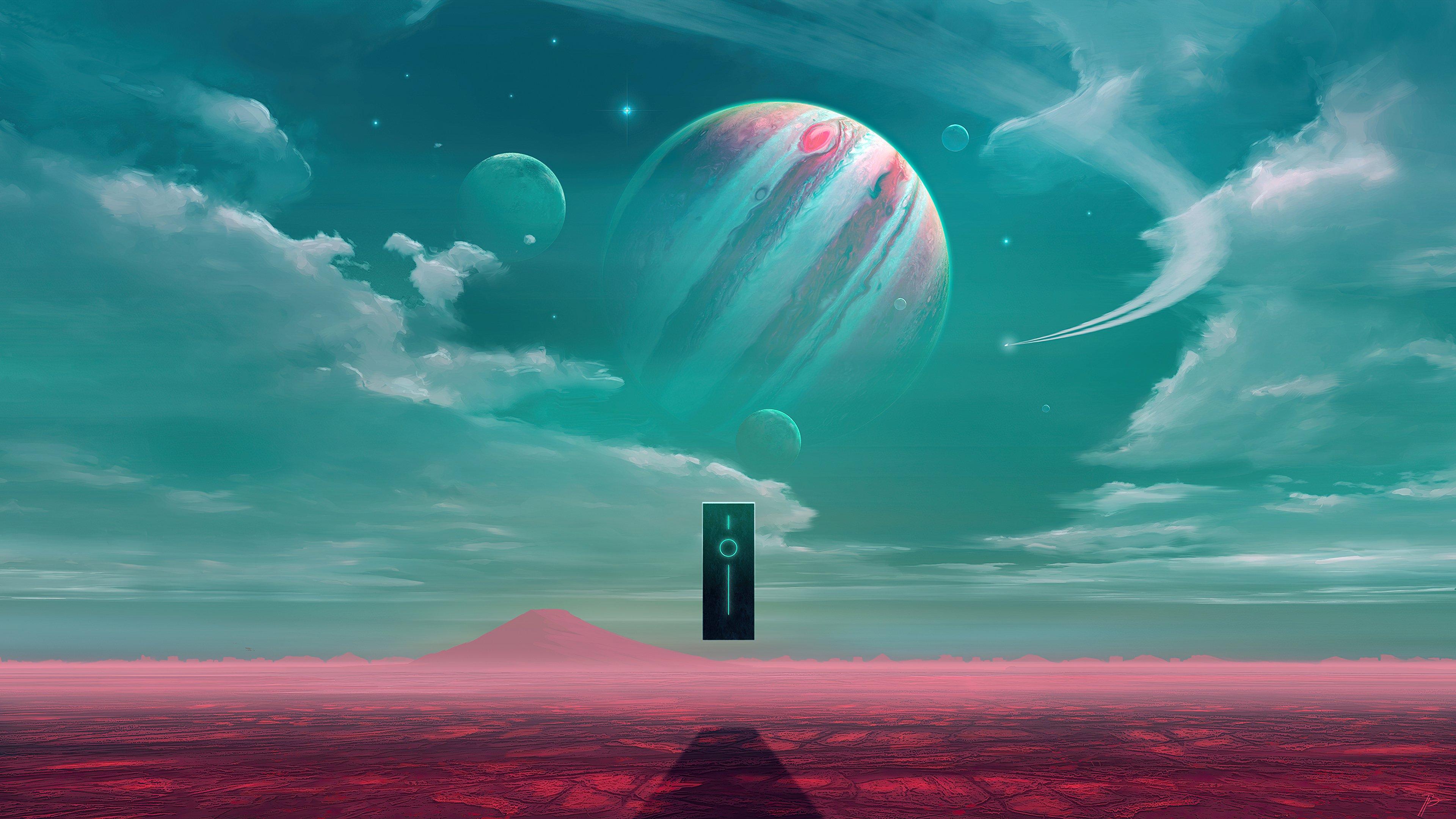 Fondos de pantalla Planeta de ciencia ficción entre estrellas