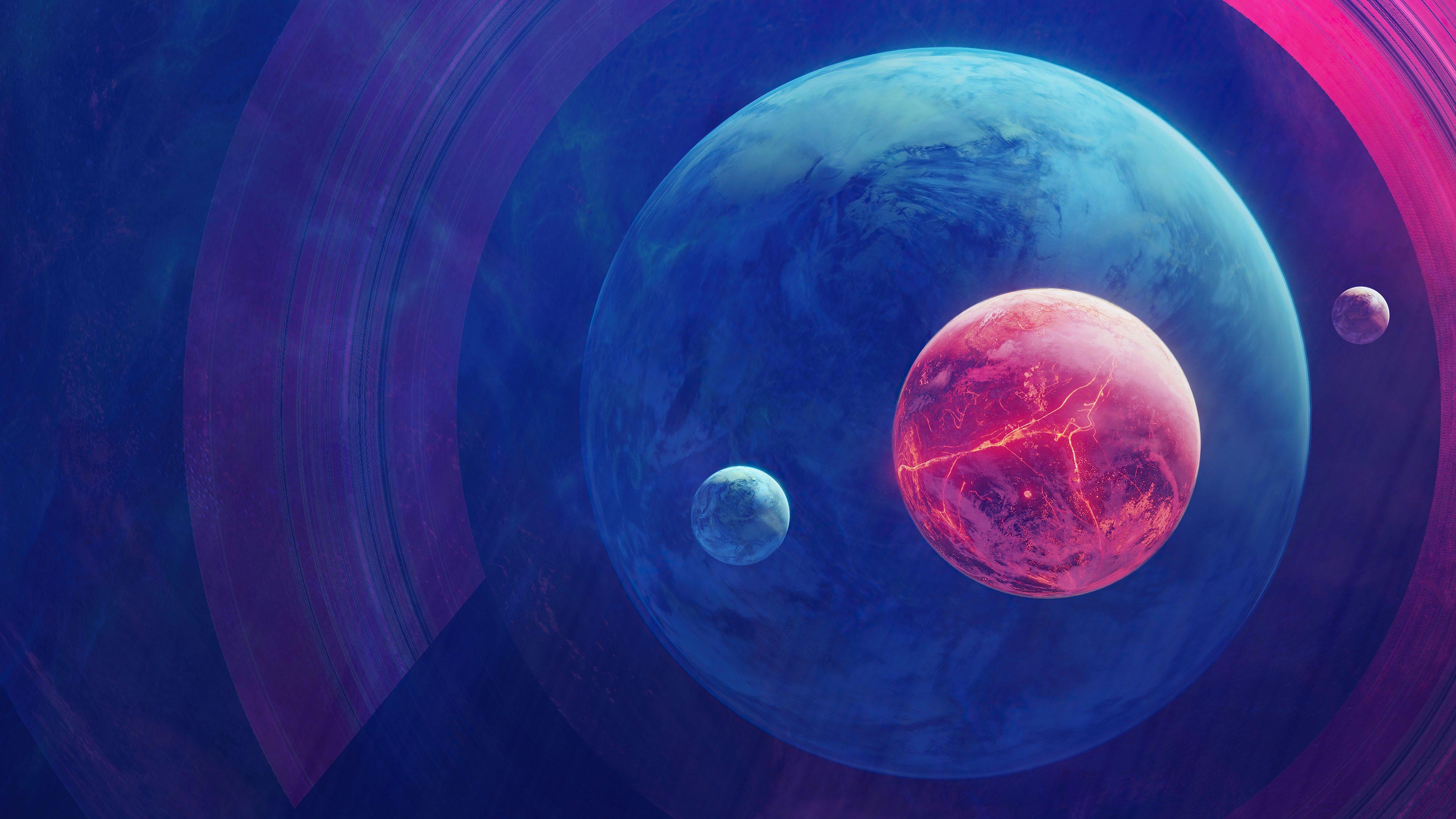 Fondos de pantalla Planetas con lunas Arte Digital