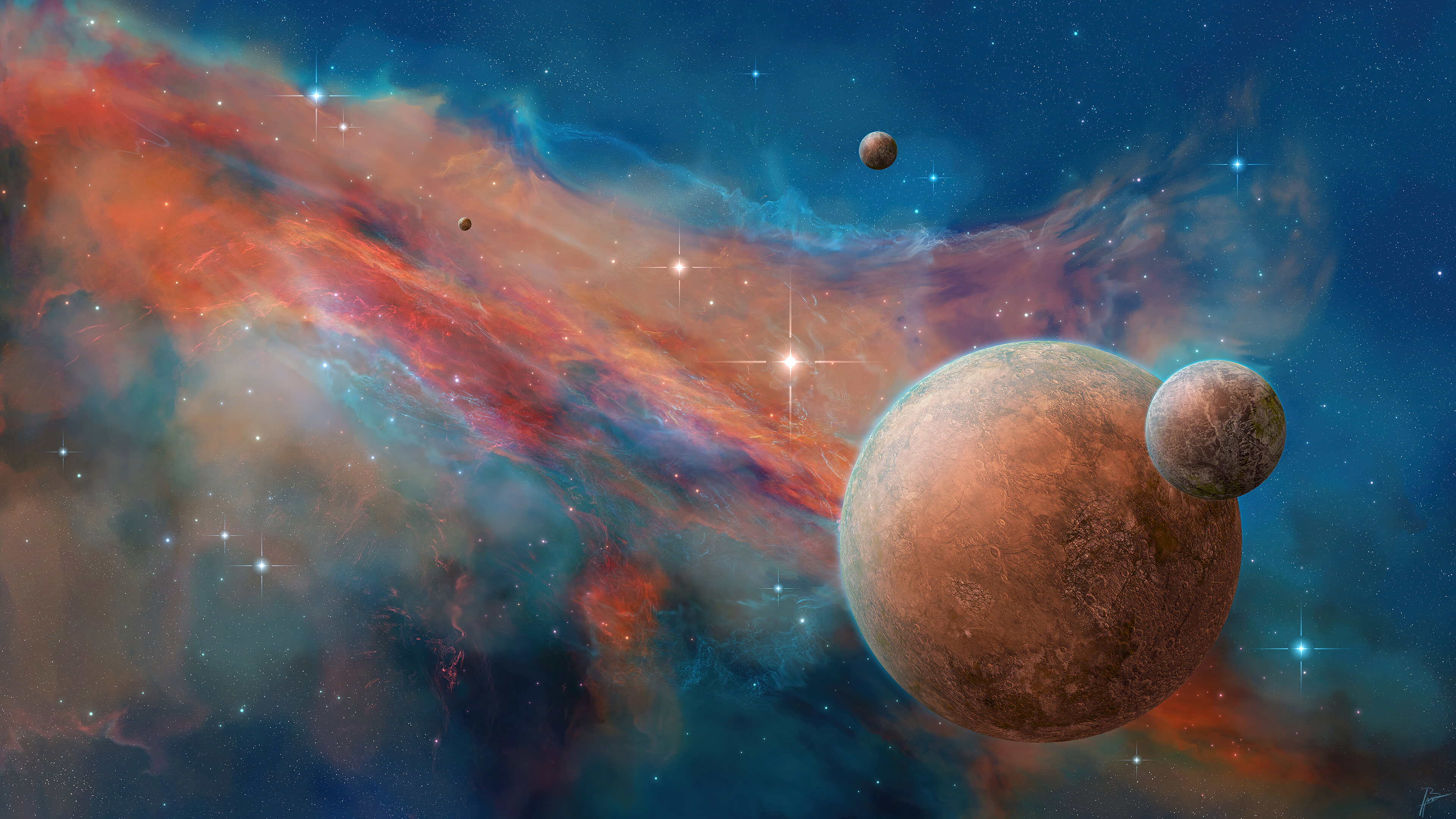 Wallpaper Planets in space with nebulas