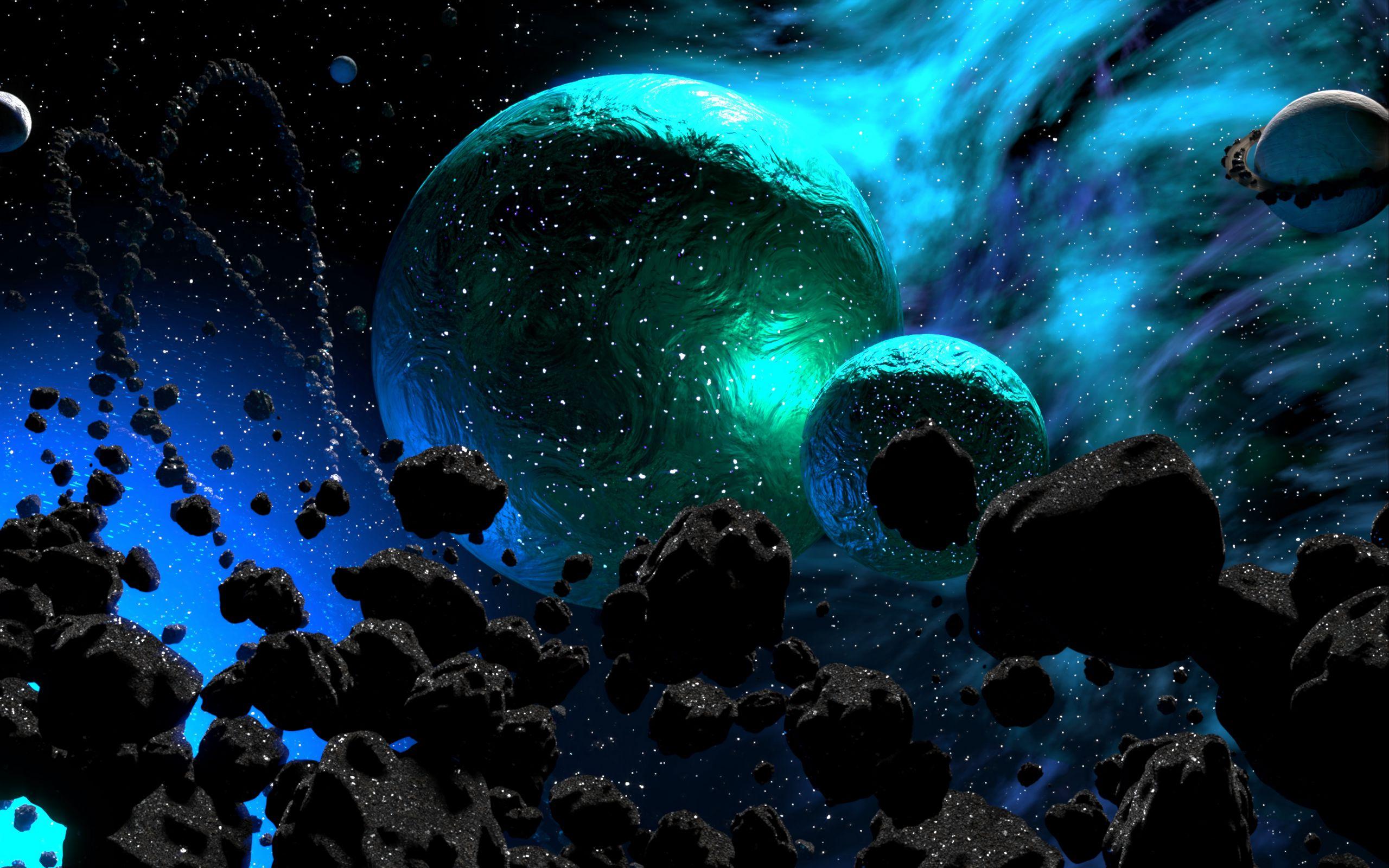 Fondos de pantalla Planetas rodeados de asteroides
