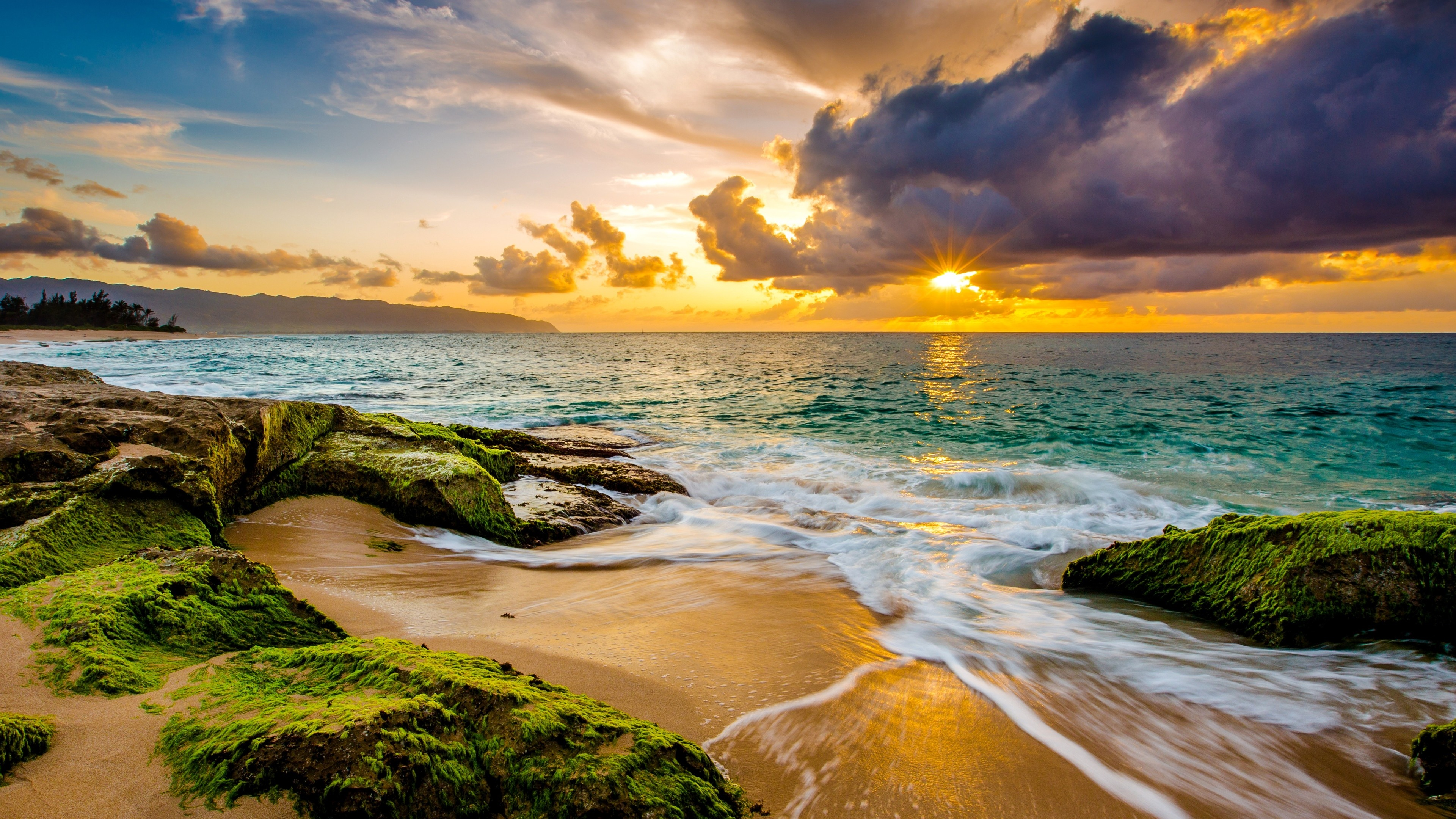 Fondos de pantalla Playa al atardecer en Hawaii