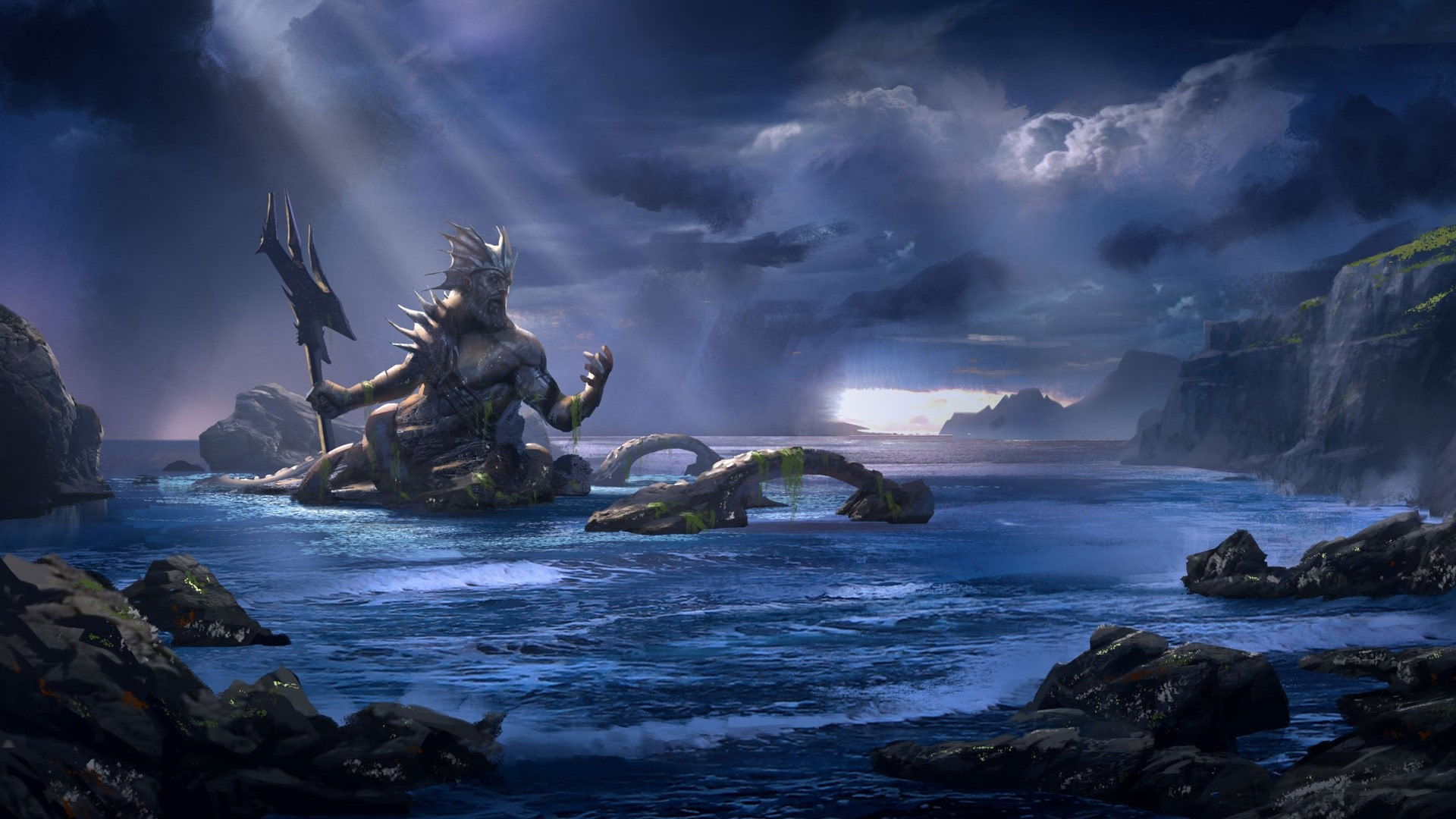Wallpaper Poseidon in God of War Ascension