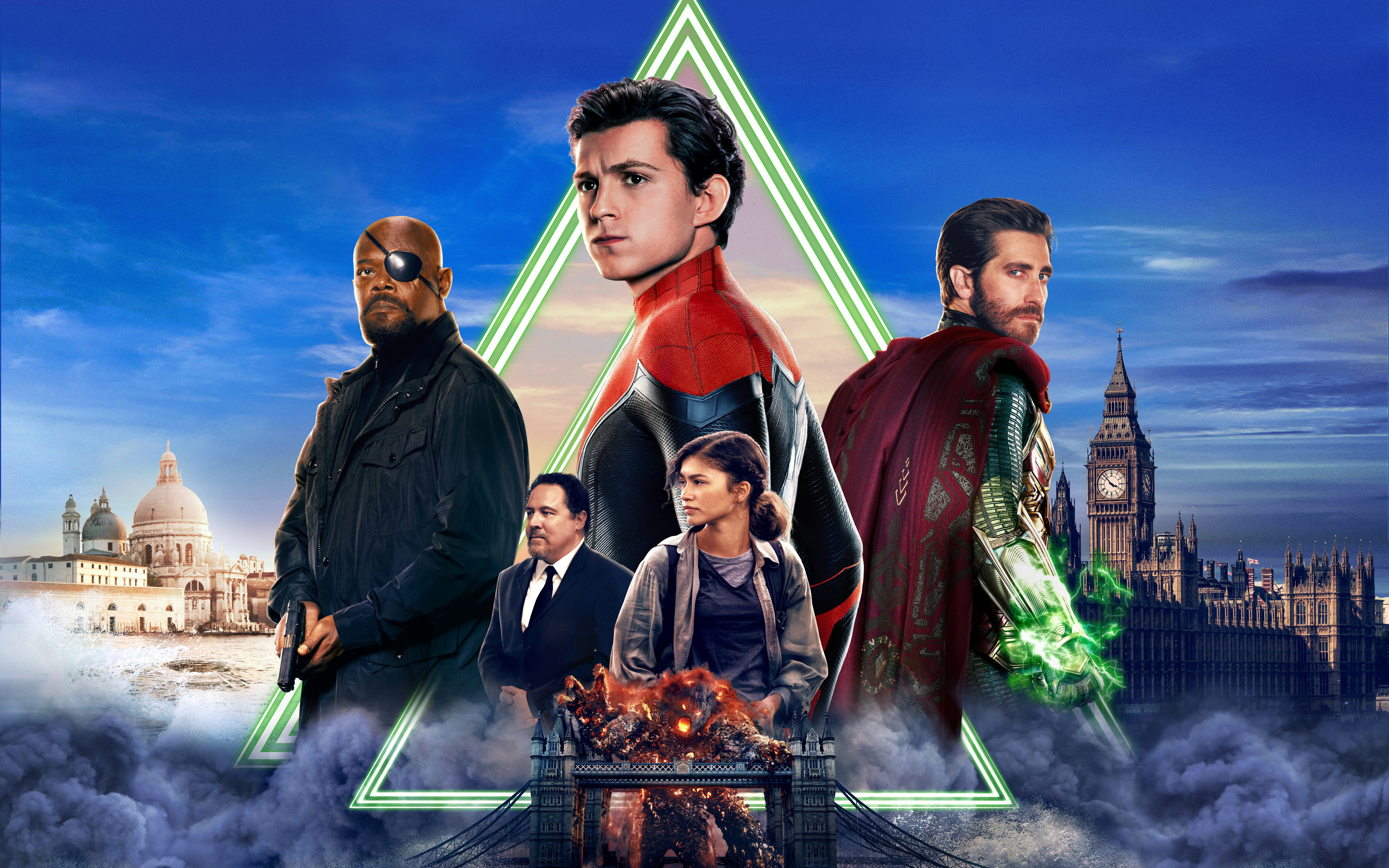 Wallpaper Poster with Characters from Spider Man: Far from home