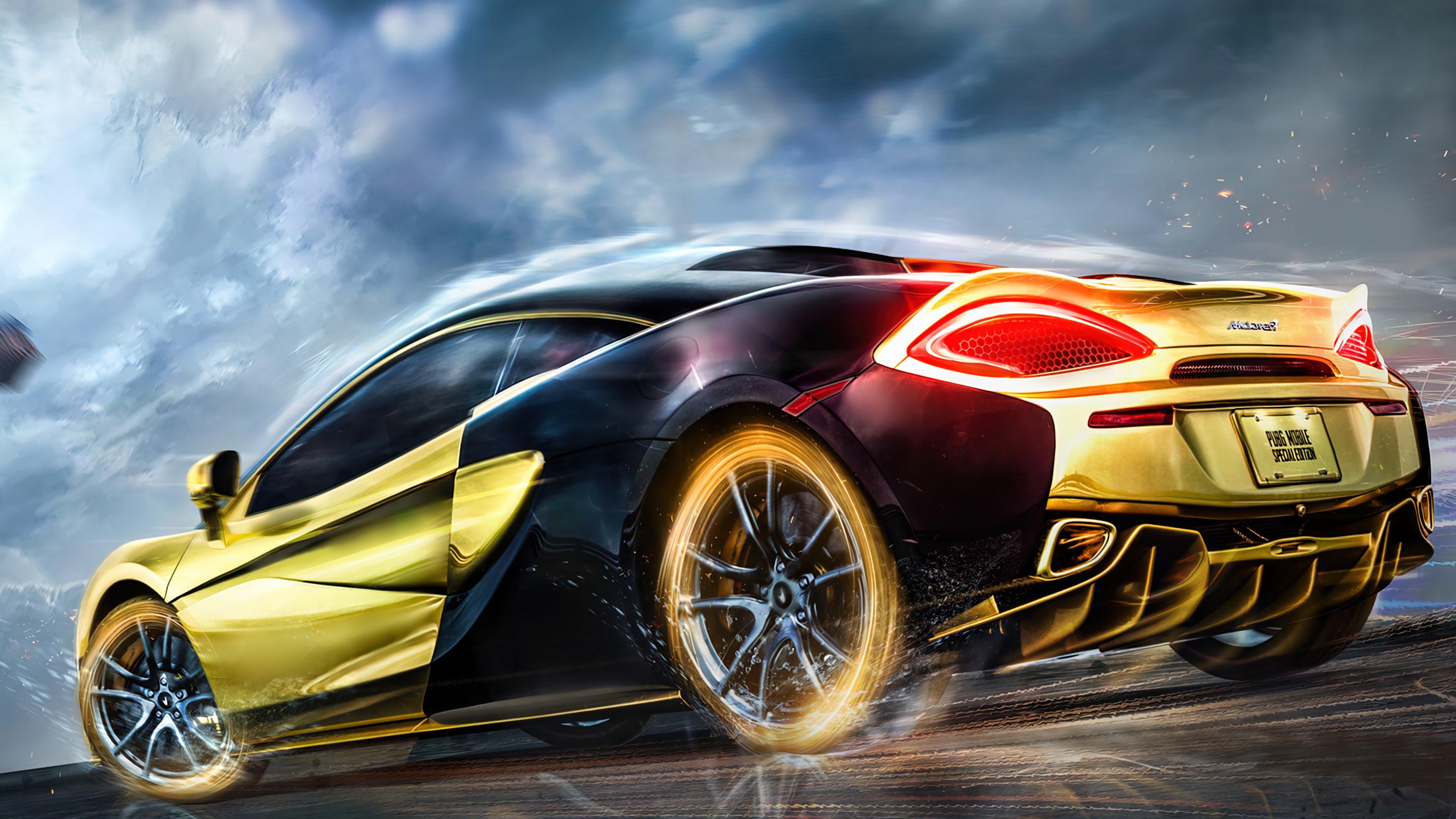 Fondos de pantalla PUBG Mobile Auto Deportivo Mclaren dorado