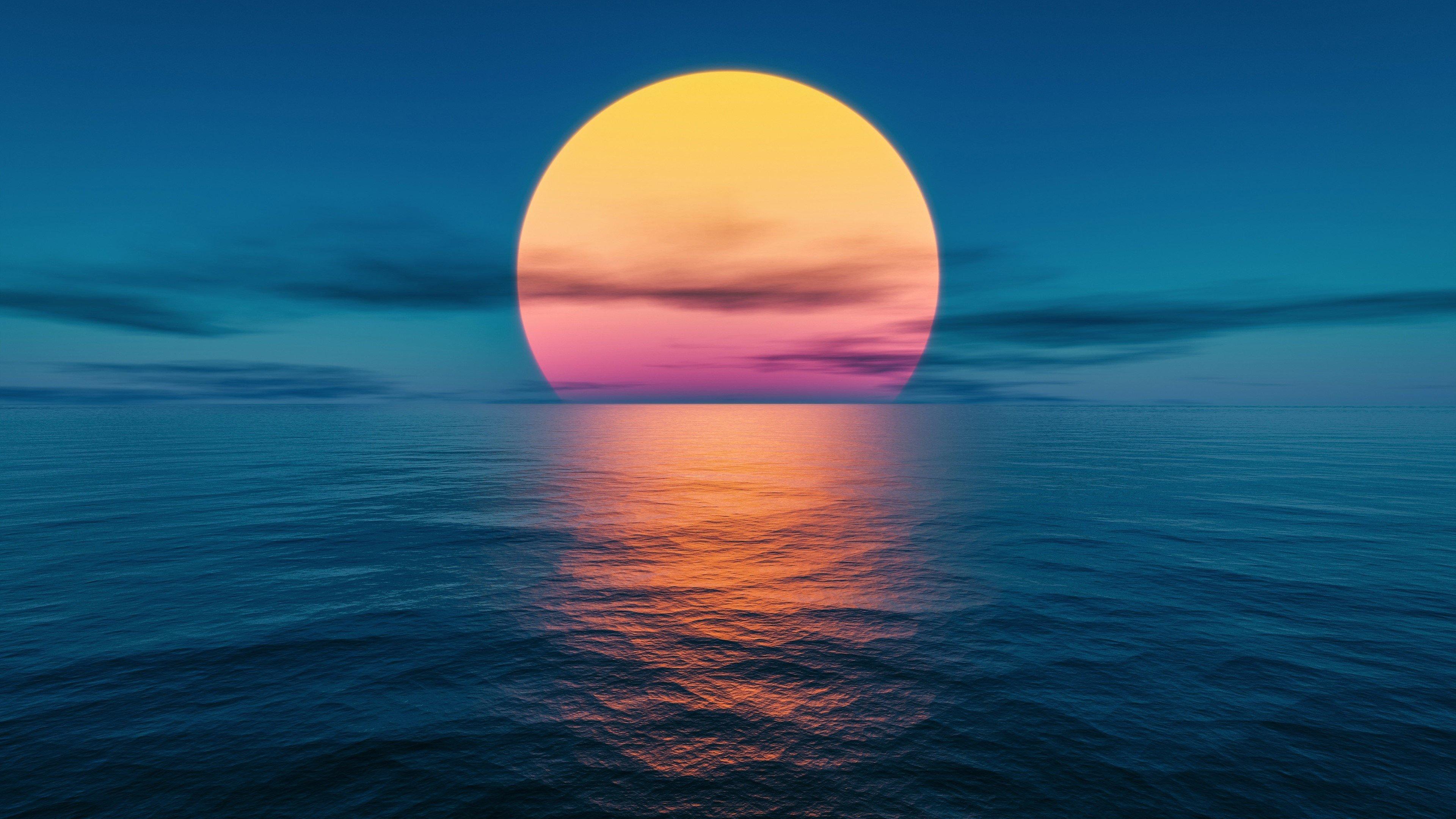 Fondos de pantalla Puesta de sol en el océano Fantasía